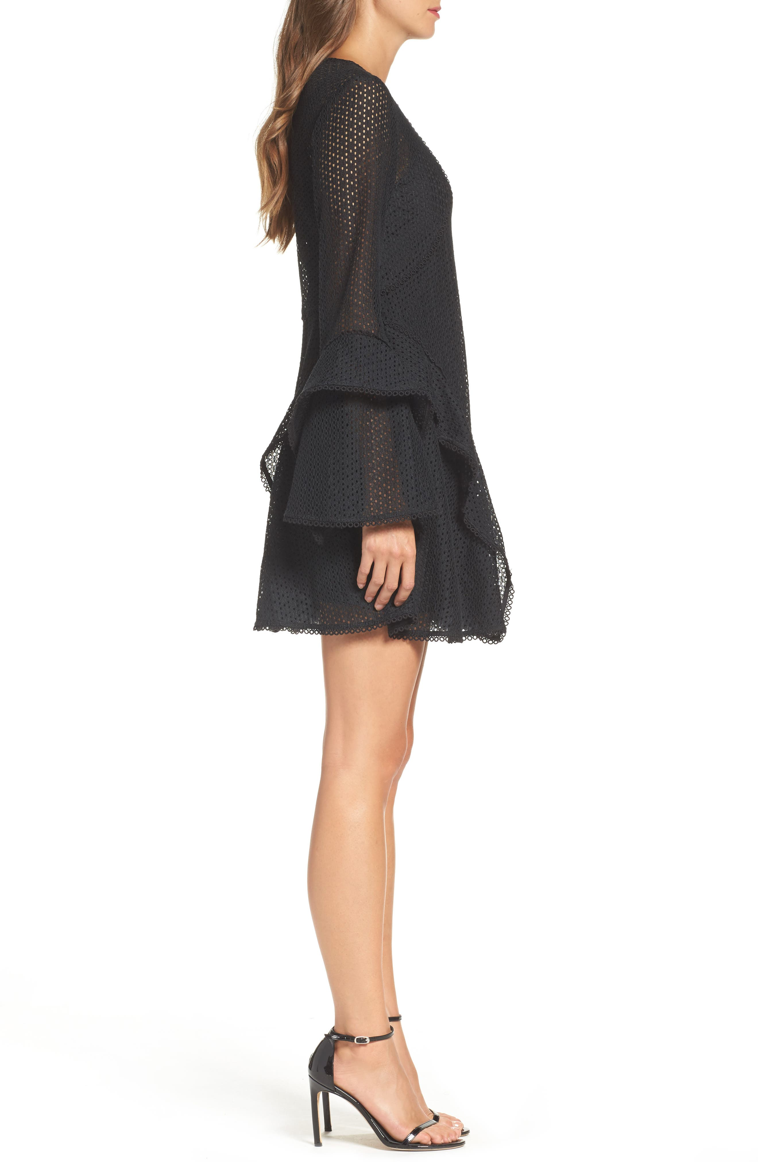 Aspire Lace Bell Sleeve Minidress,                             Alternate thumbnail 3, color,                             001