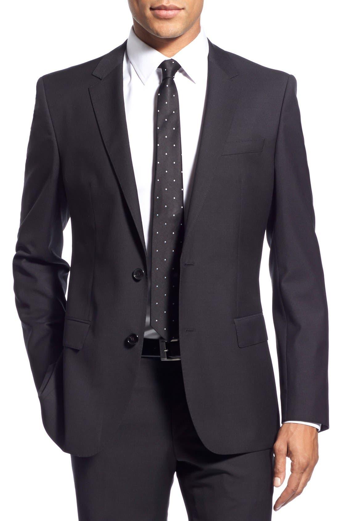 'Huge/Genius' Trim Fit Solid Wool Suit,                             Alternate thumbnail 7, color,                             BLACK