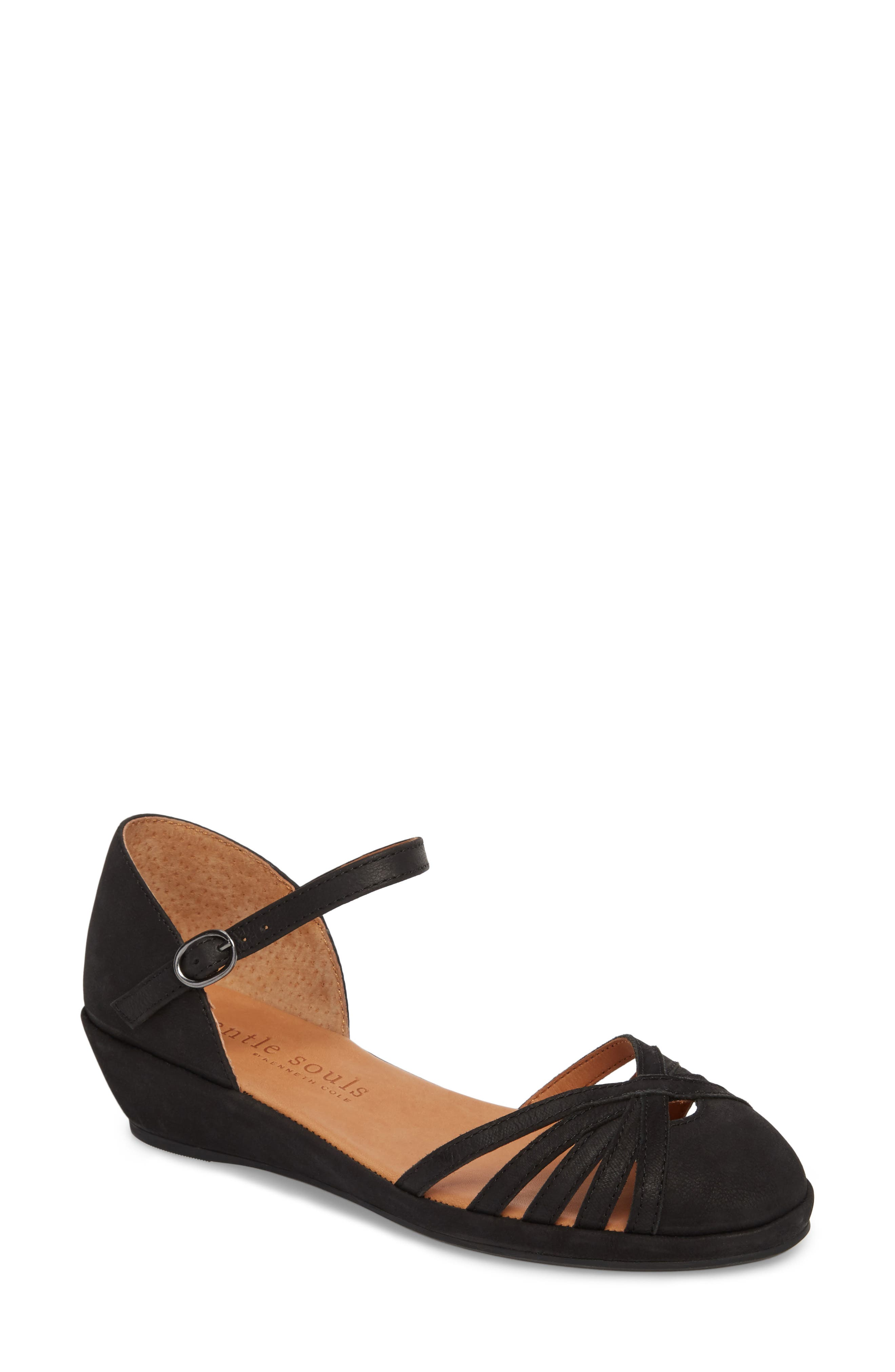 by Kenneth Cole Naira Wedge,                             Main thumbnail 1, color,                             BLACK NUBUCK