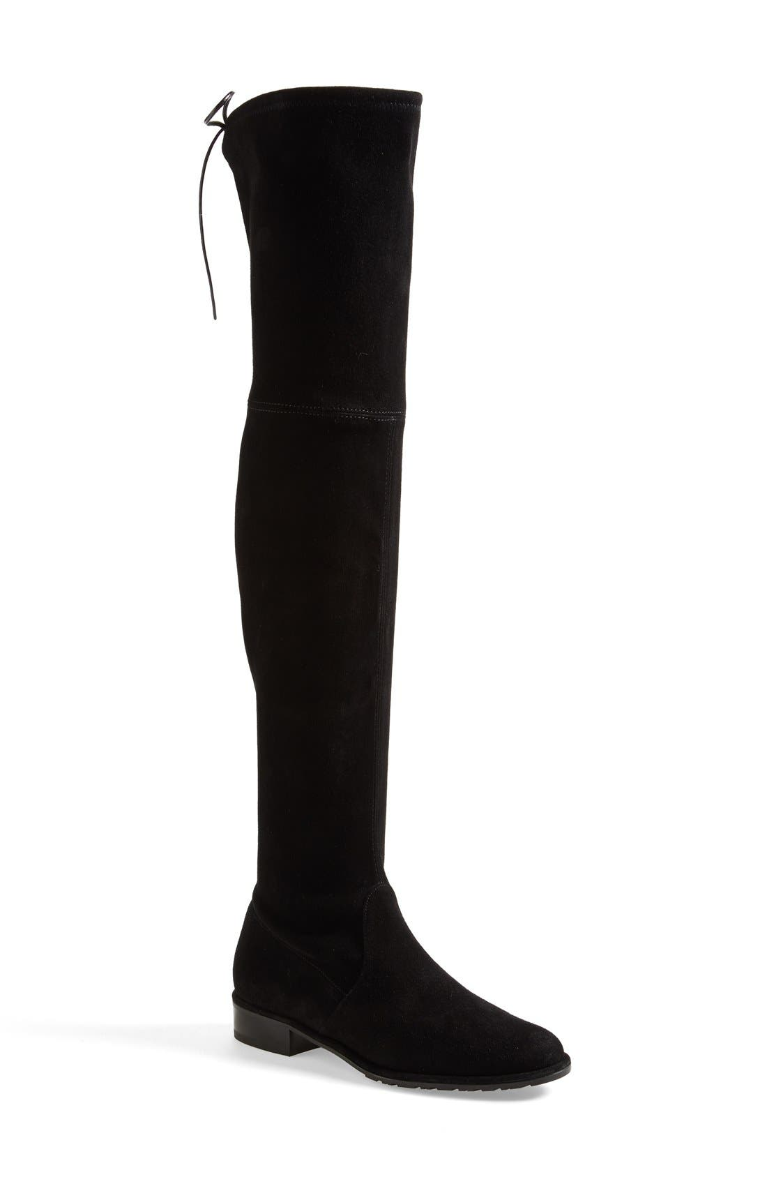 'Lowland' Over the Knee Boot, Main, color, BLACK SUEDE