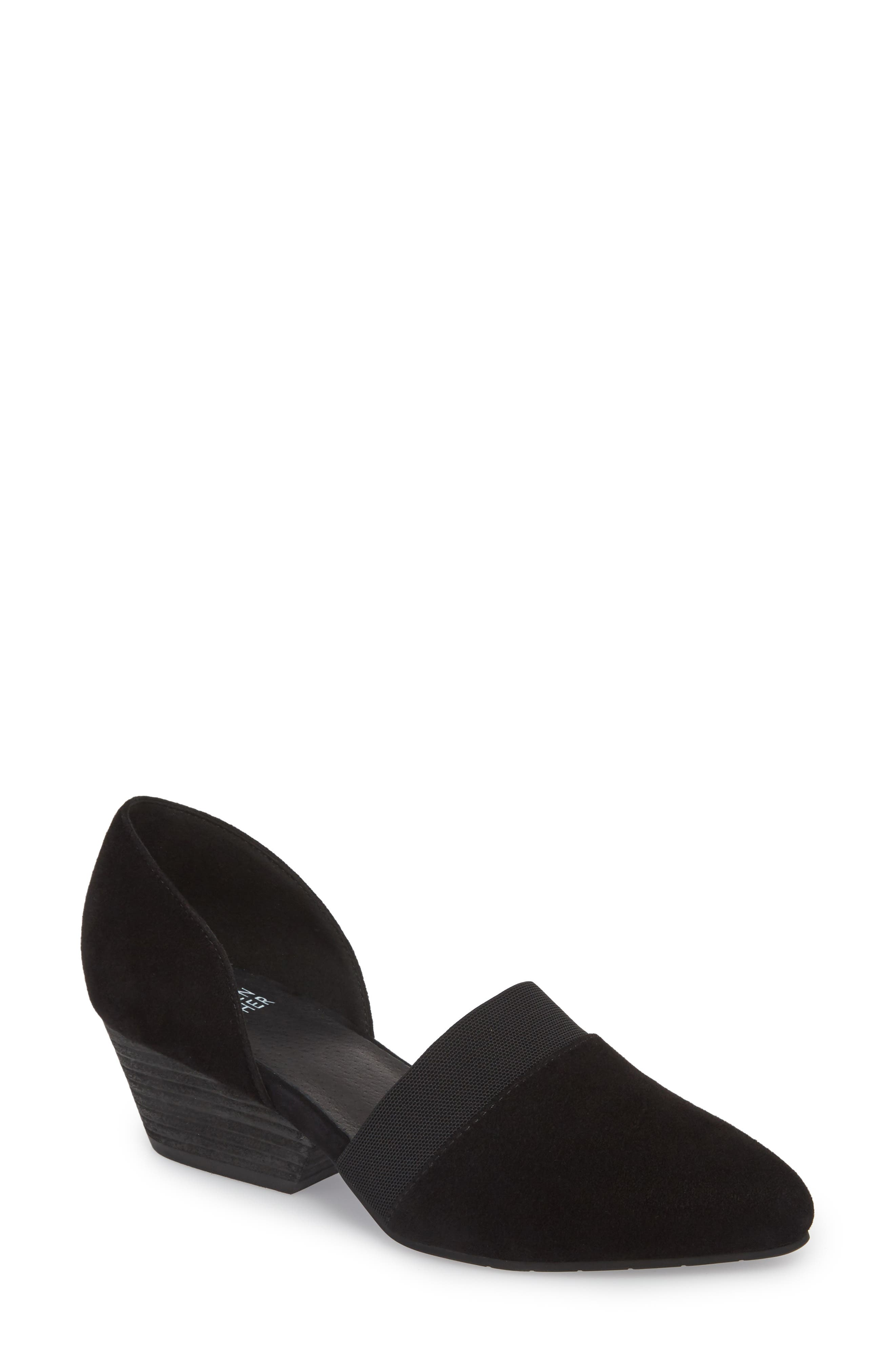 Women'S Hilly Suede D'Orsay Mid-Heel Pumps in Black Suede