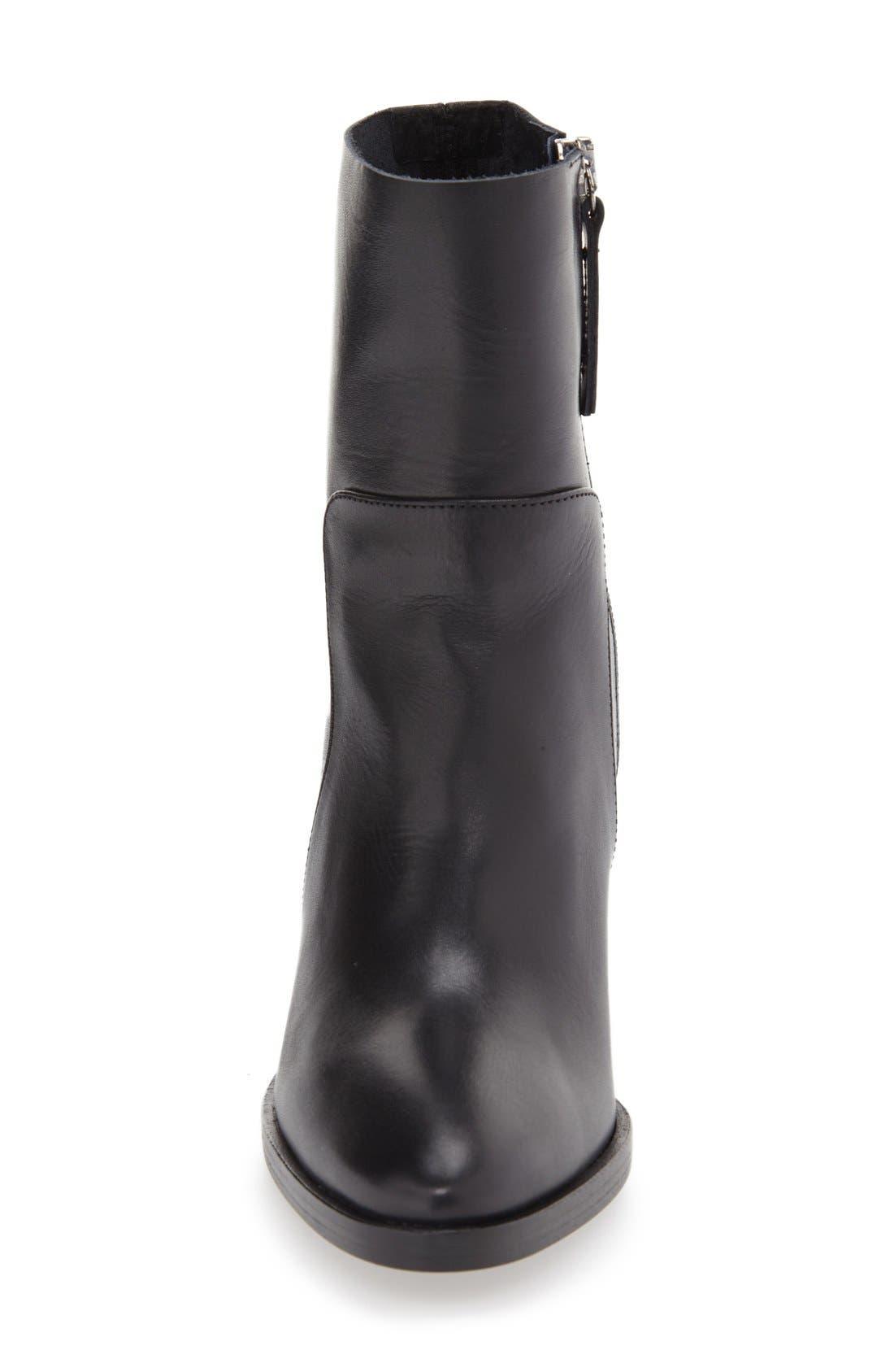 'Million' Pointy Toe Zip Boot,                             Alternate thumbnail 3, color,                             001
