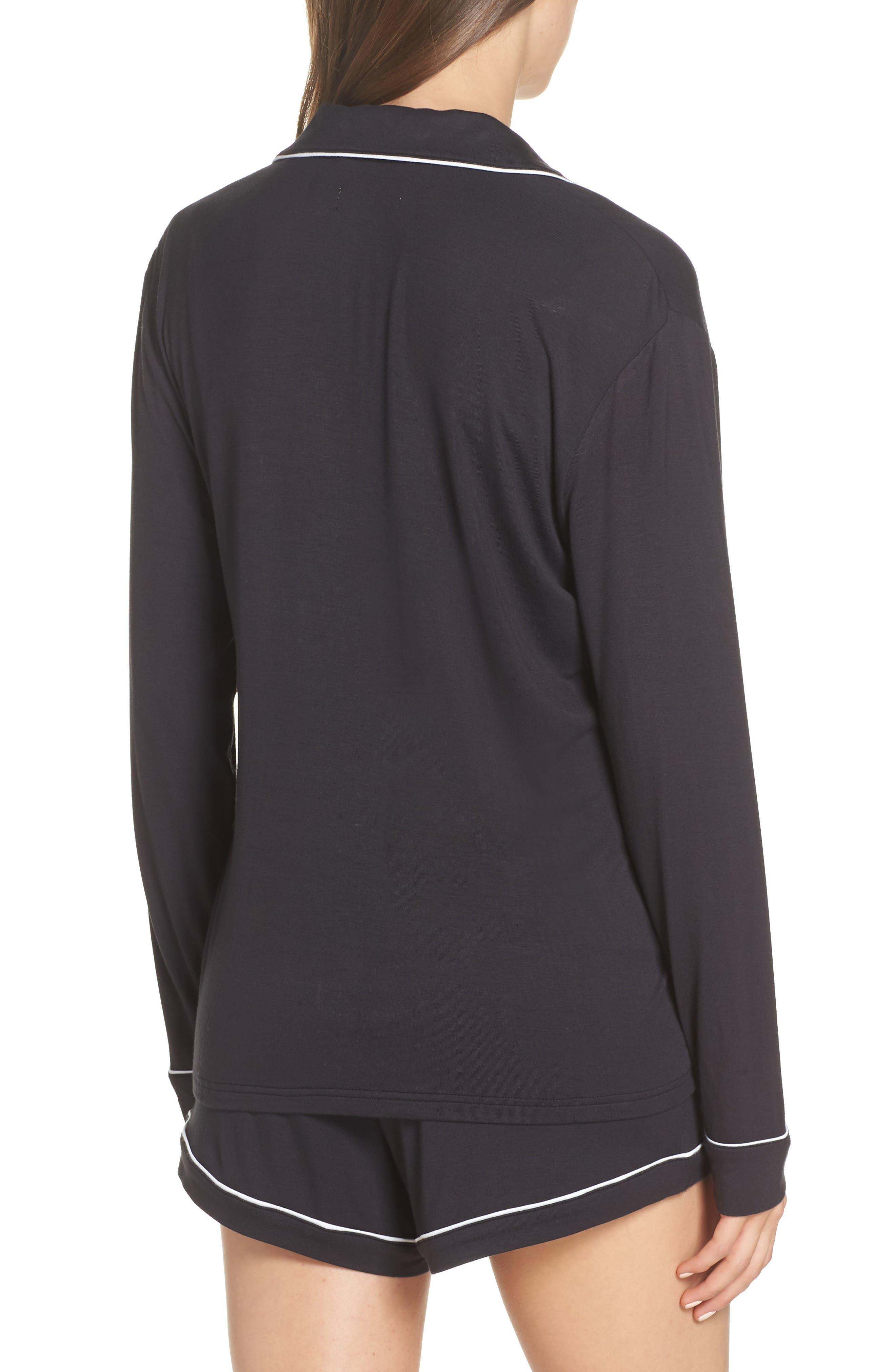 Nya Short Pajamas,                             Alternate thumbnail 2, color,                             BLACK