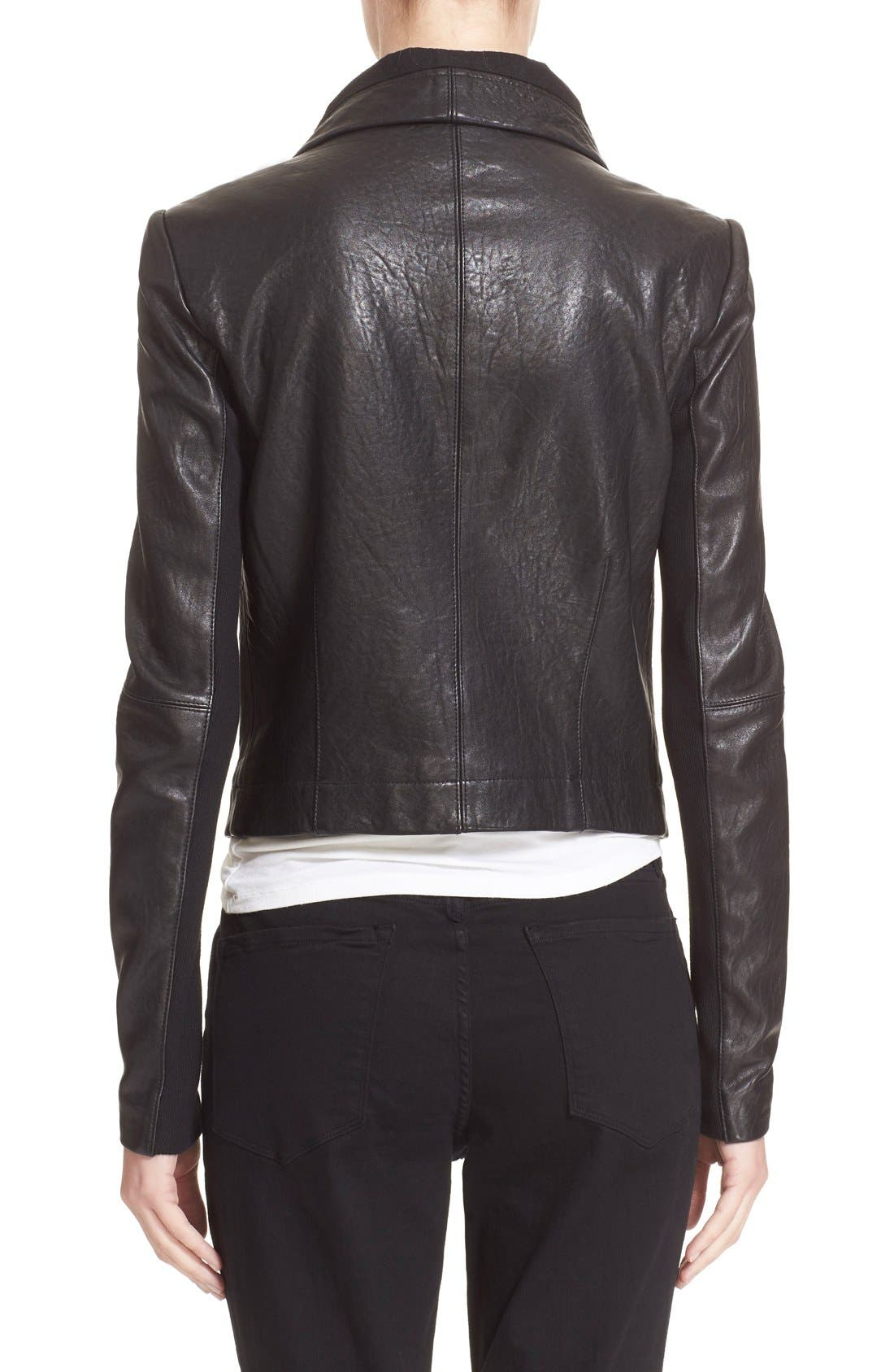 VEDA,                             'Max Classic' Leather Jacket,                             Alternate thumbnail 2, color,                             001