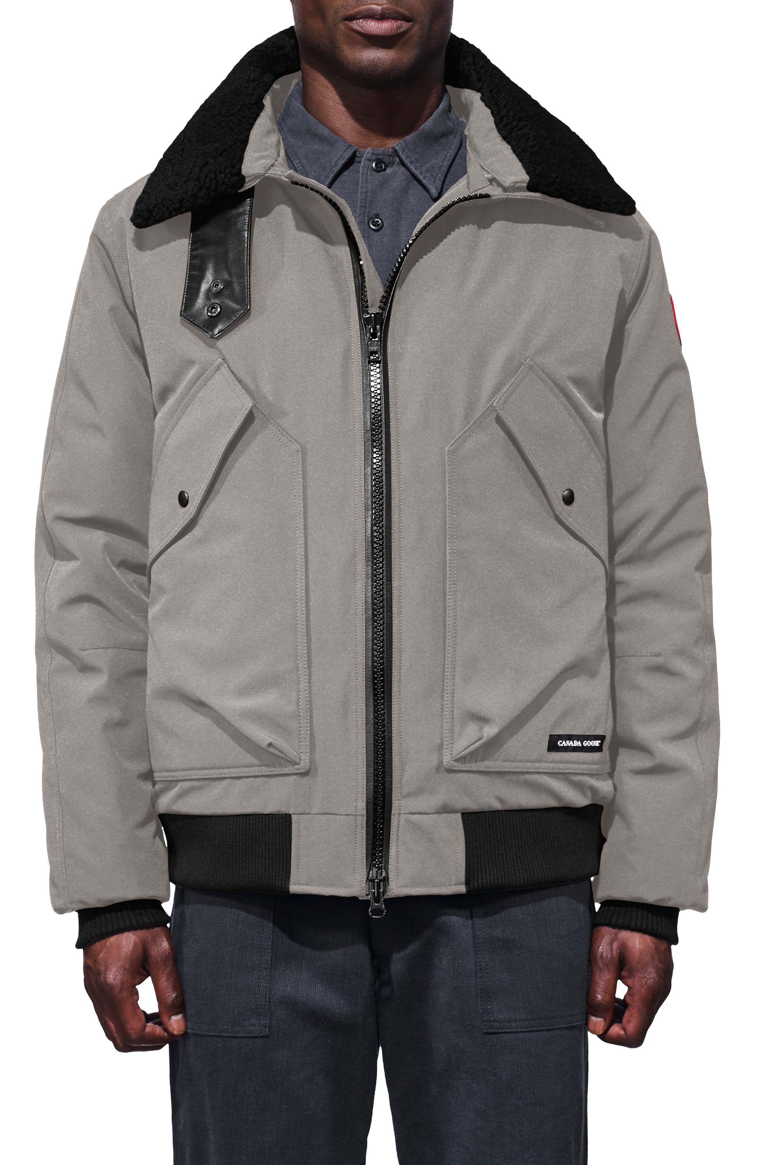 Canada Goose Bromley Slim Fit Down Bomber Jacket With Genuine Shearling Collar, Grey