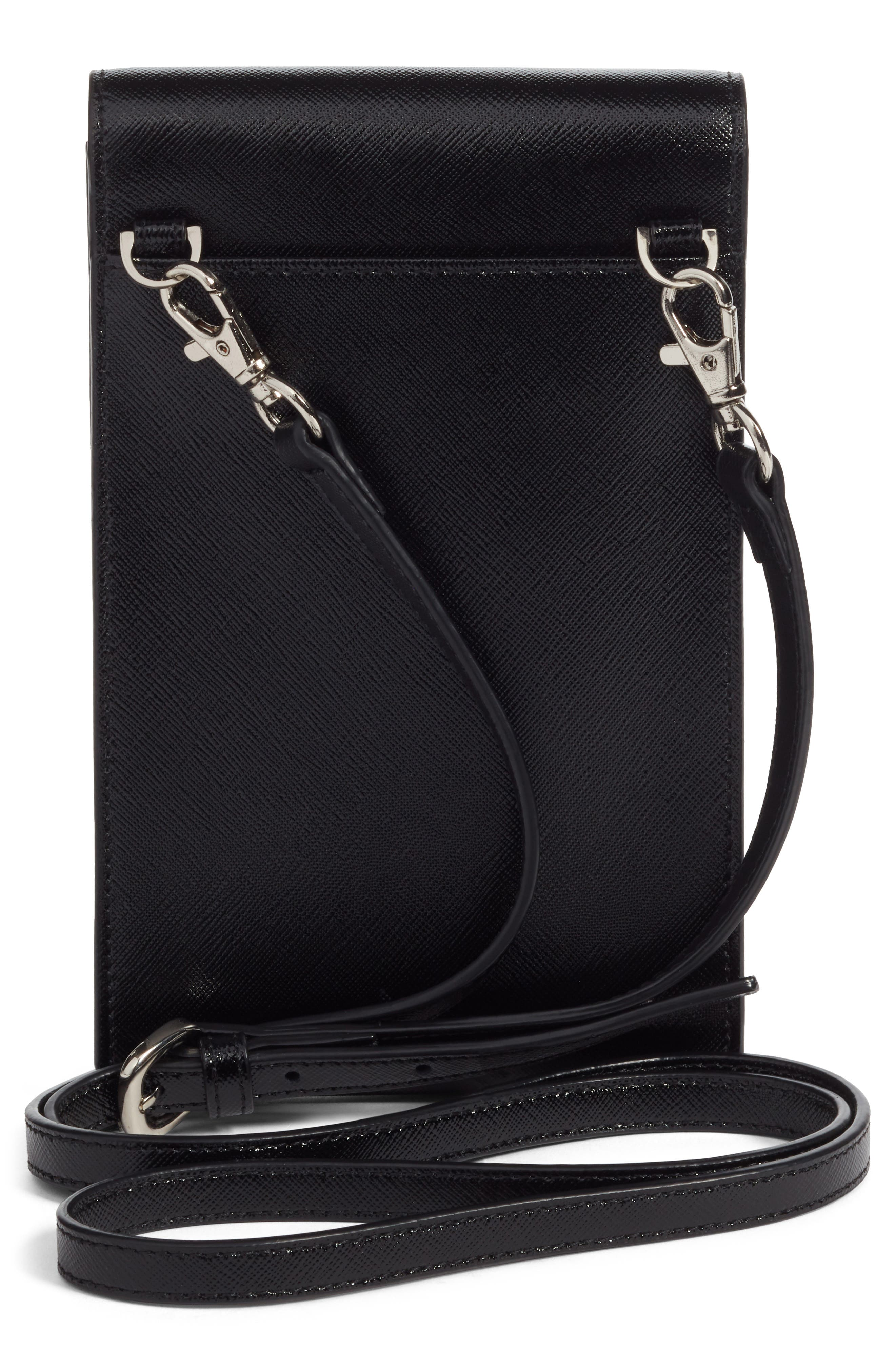 Leather Phone Crossbody Bag,                             Alternate thumbnail 3, color,                             BLACK