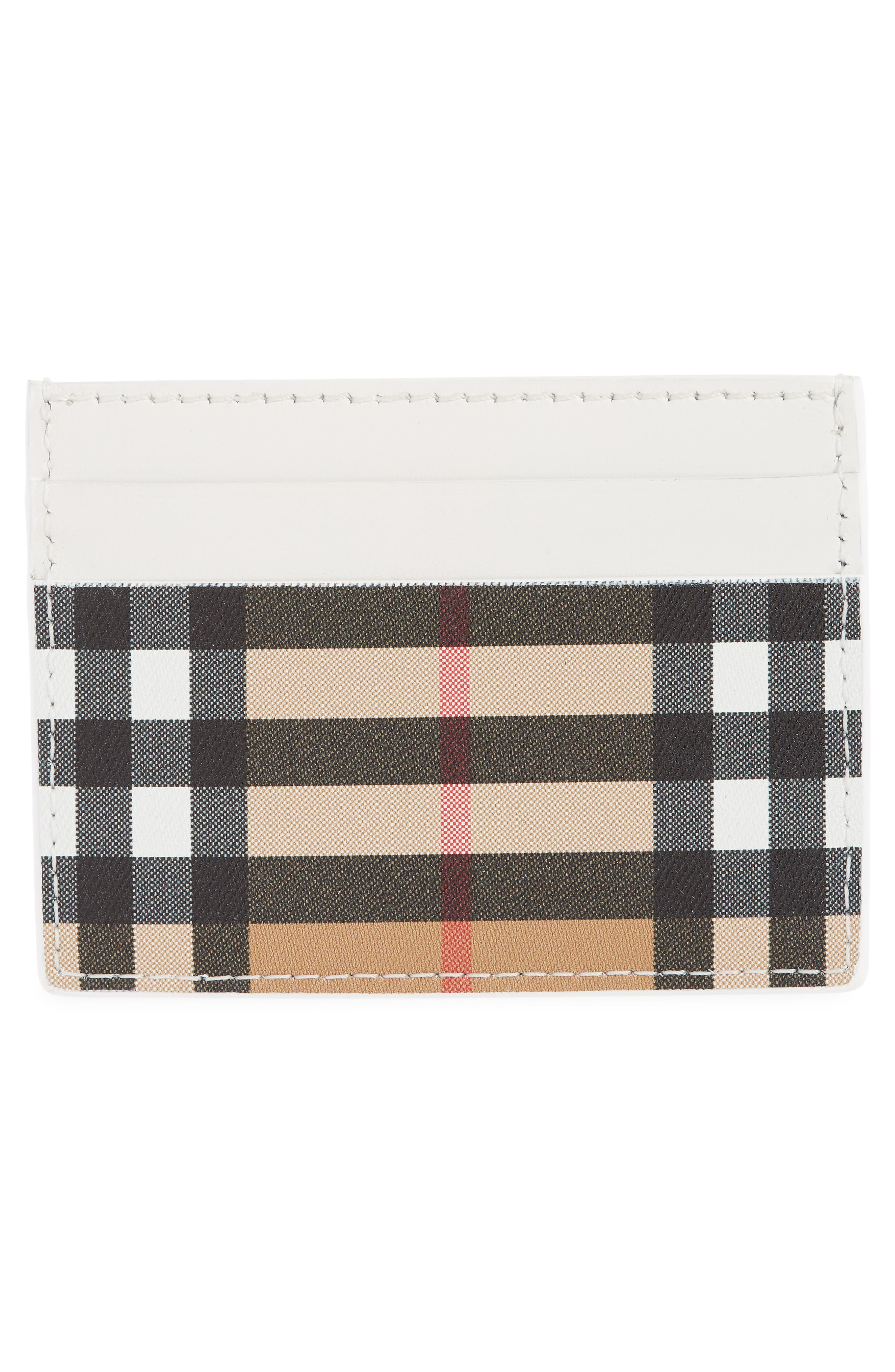 Sandon Vintage Check Leather Card Case,                             Alternate thumbnail 2, color,                             CHALK WHITE
