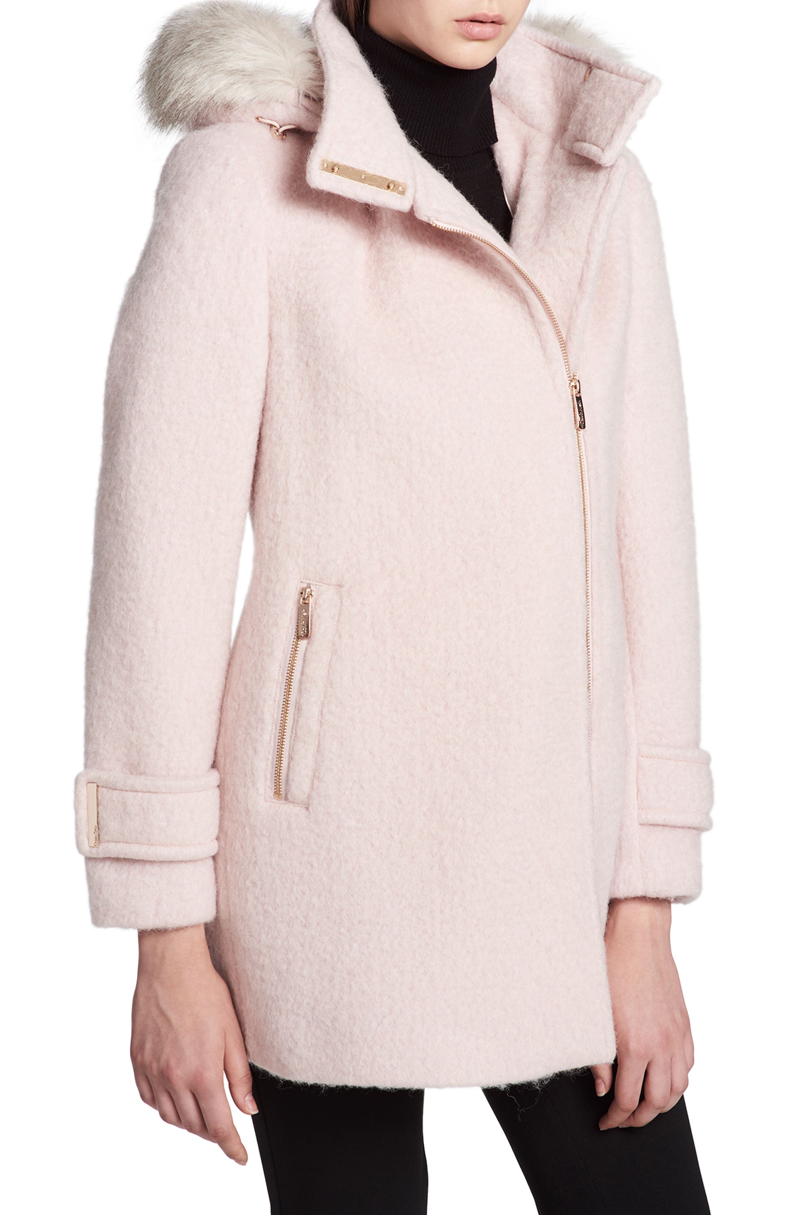 Hooded Wool Blend Jacket with Faux Fur Trim,                             Alternate thumbnail 9, color,