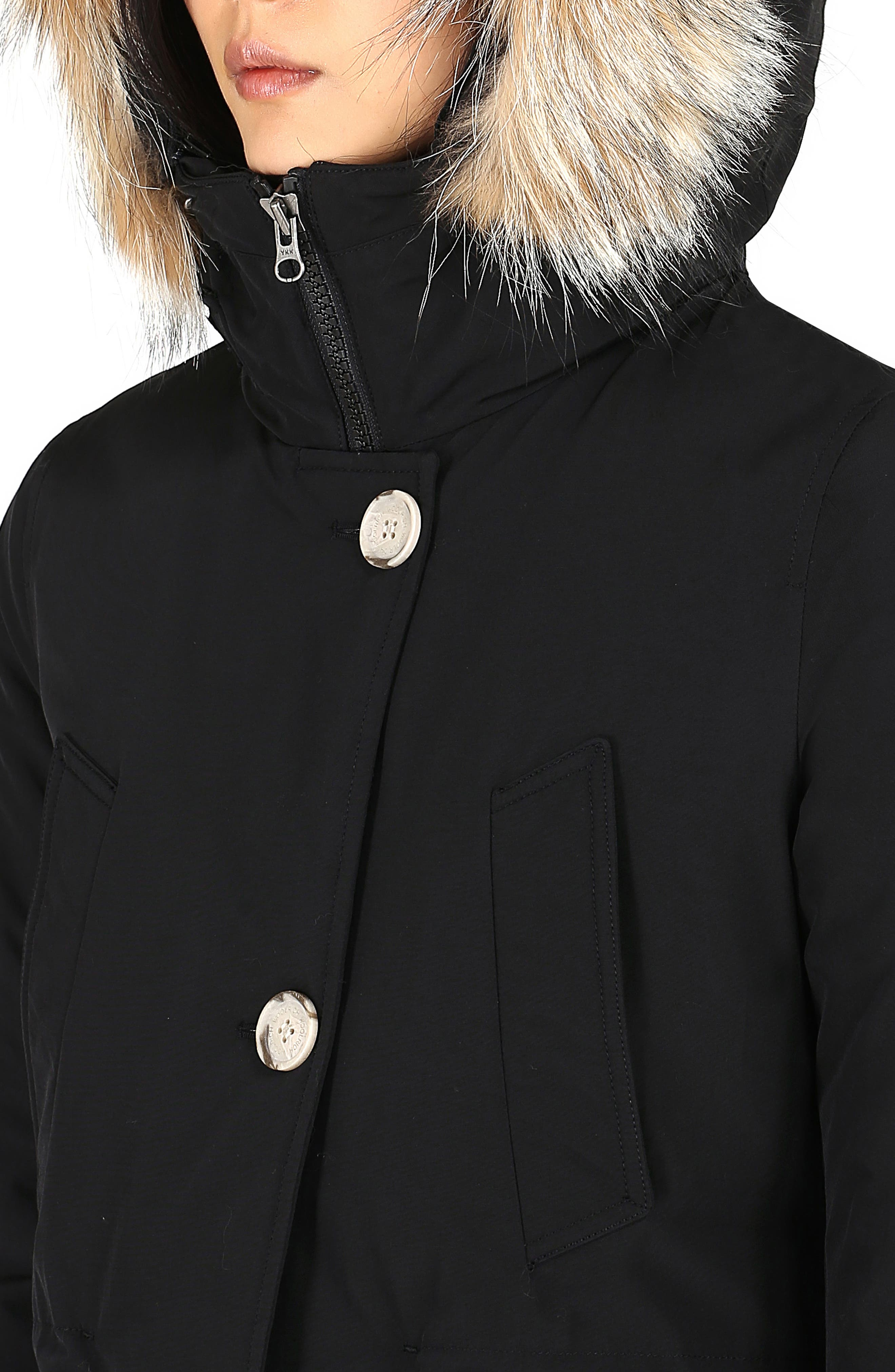 High Collar Arctic Down Parka with Genuine Coyote Fur Trim,                             Alternate thumbnail 6, color,                             BLACK