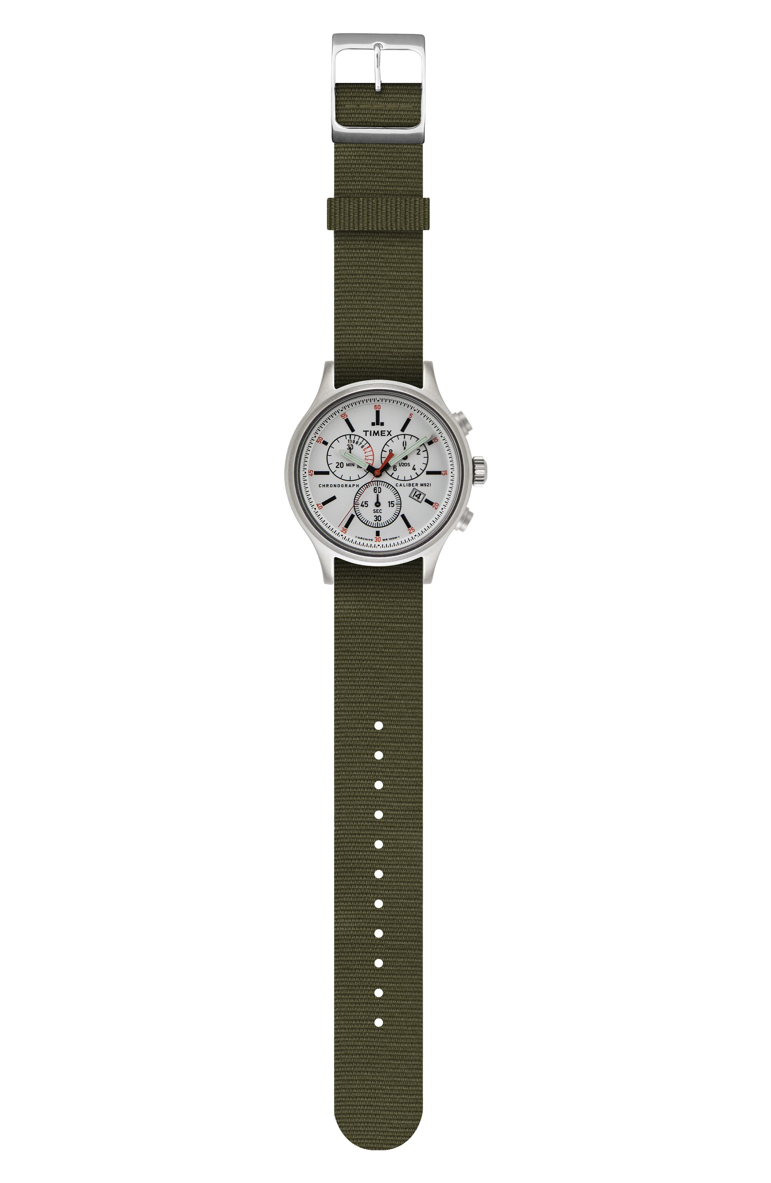Allied Chronograph Reversible Strap Watch, 42mm,                             Alternate thumbnail 3, color,                             SILVER/ WHITE/ GREEN