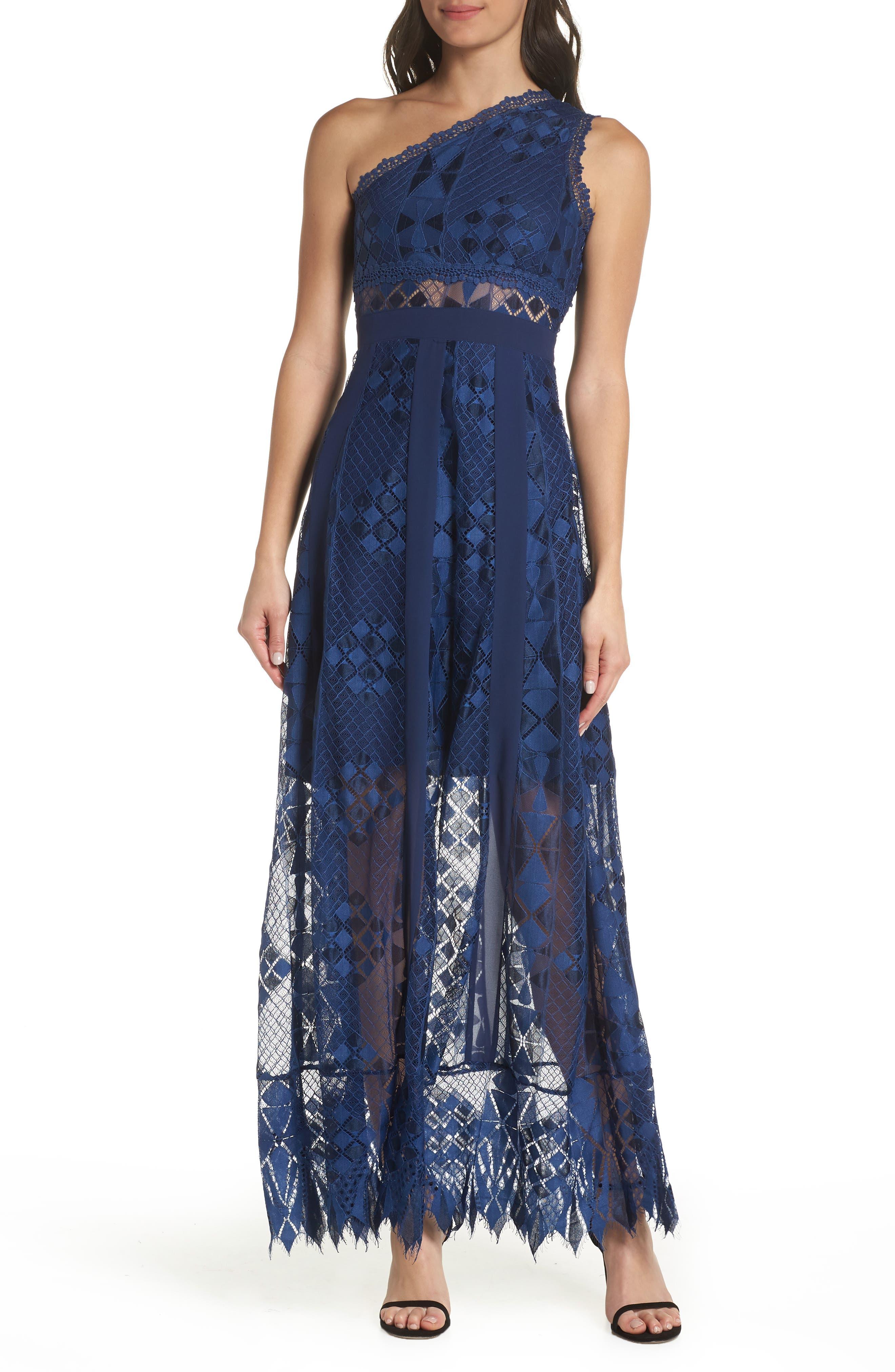 Juliet One-Shoulder Lace Gown,                         Main,                         color, NAVY
