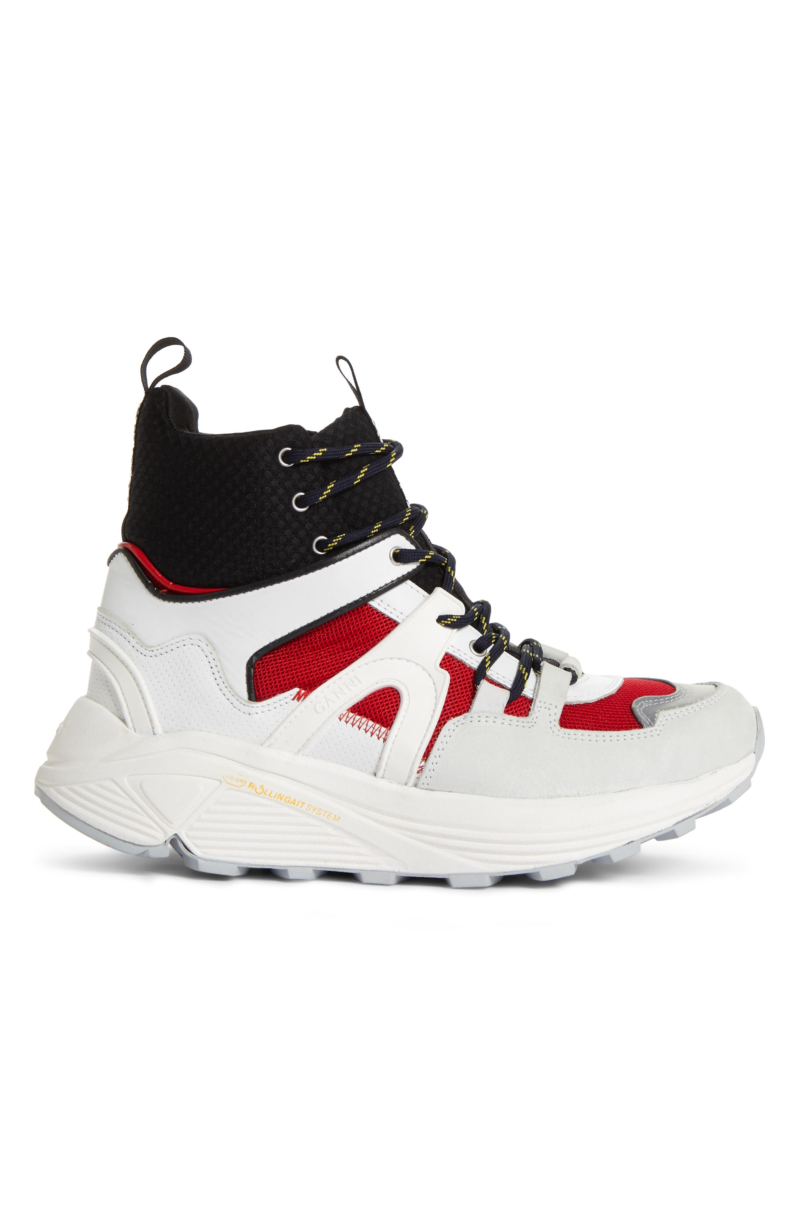 GANNI,                             High Top Tech Sneaker,                             Alternate thumbnail 3, color,                             FIERY RED 403
