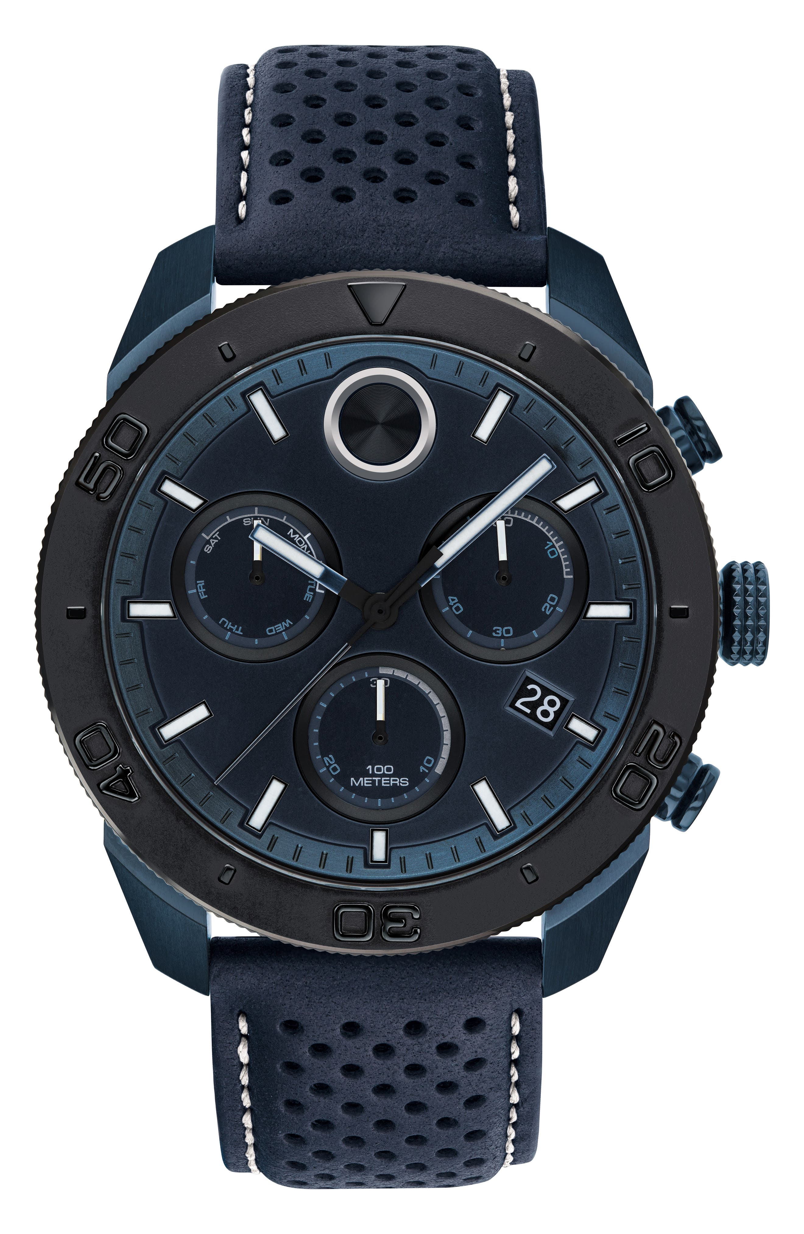 Bold Sport Chronograph Leather Strap Watch, 44mm, Main, color, NAVY BLUE/ BLACK