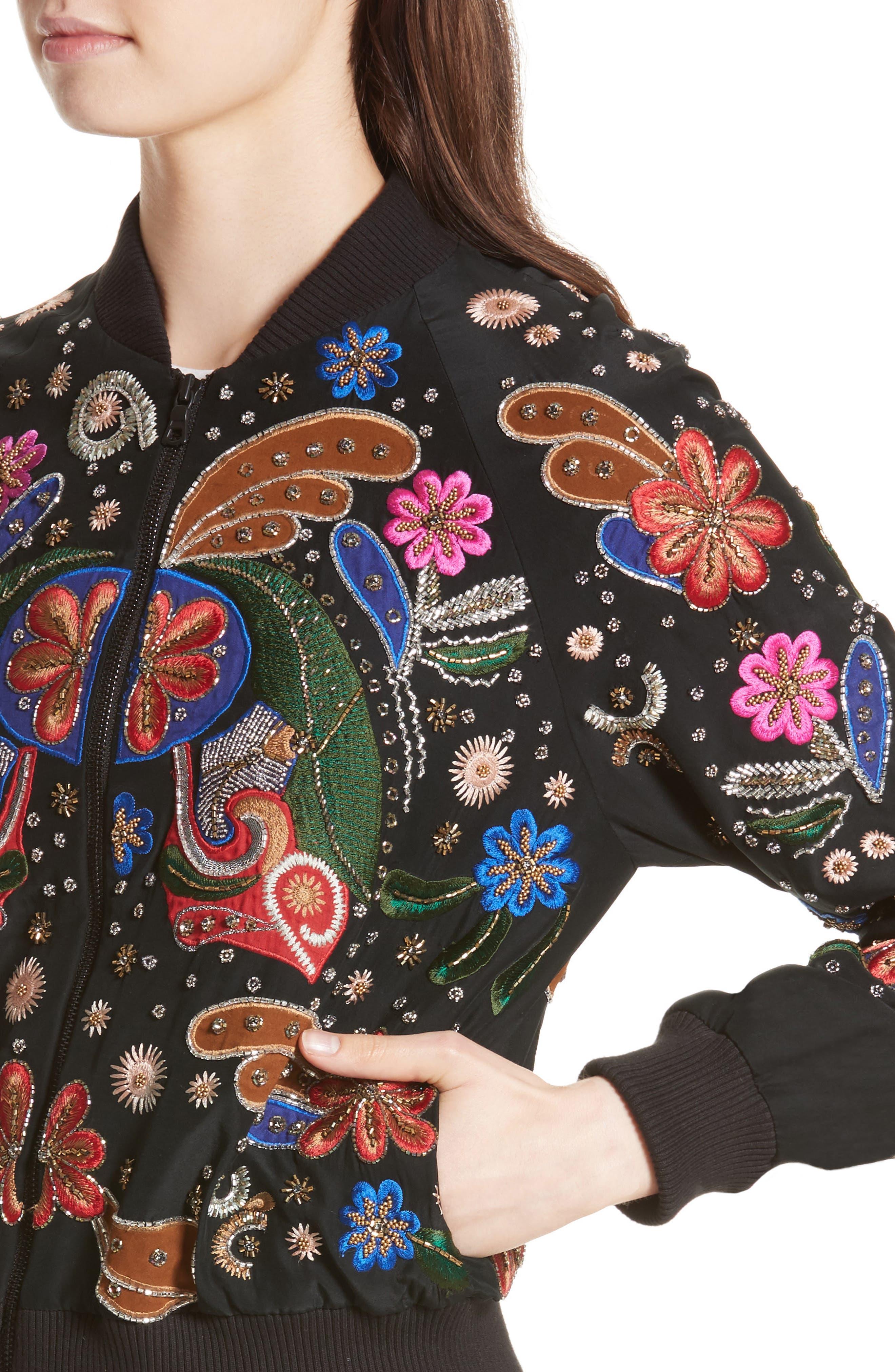 Felisa Embellished Silk Bomber Jacket,                             Alternate thumbnail 4, color,                             019