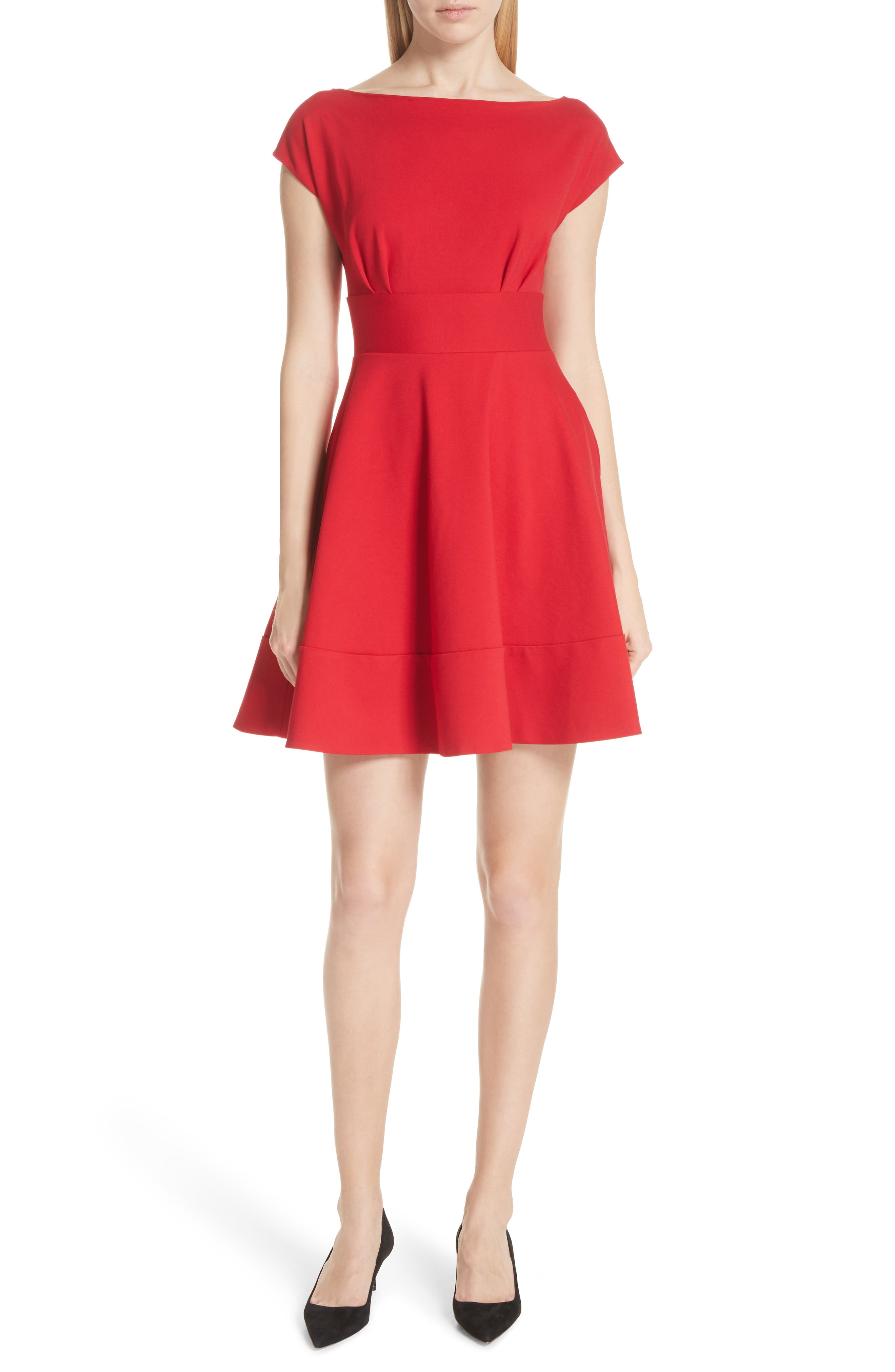 Kate Spade New York Ponte Fiorella Fit & Flare Dress, Red