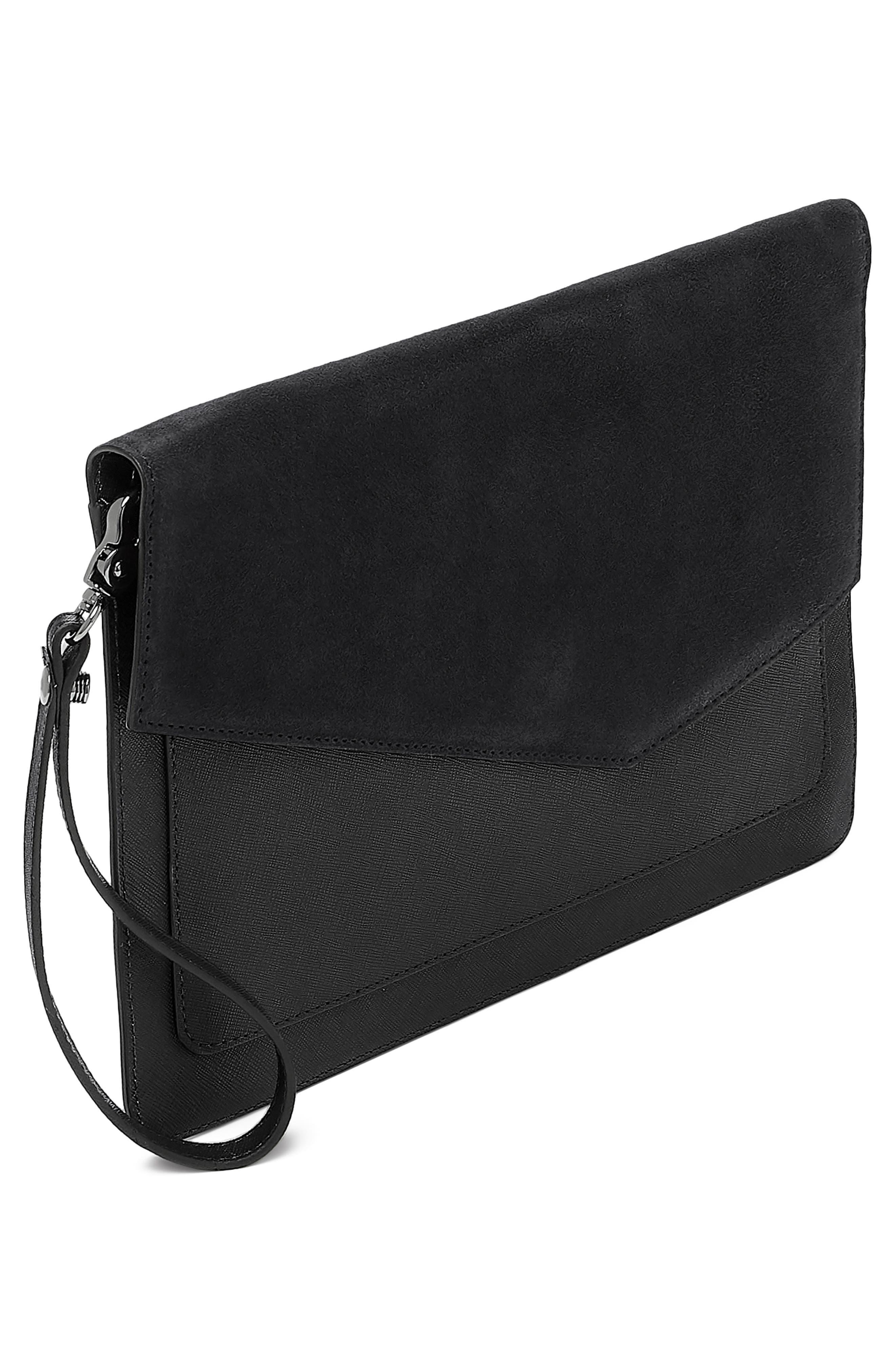 Cobble Hill Calfskin Leather Flap Clutch,                             Alternate thumbnail 4, color,                             BLACK