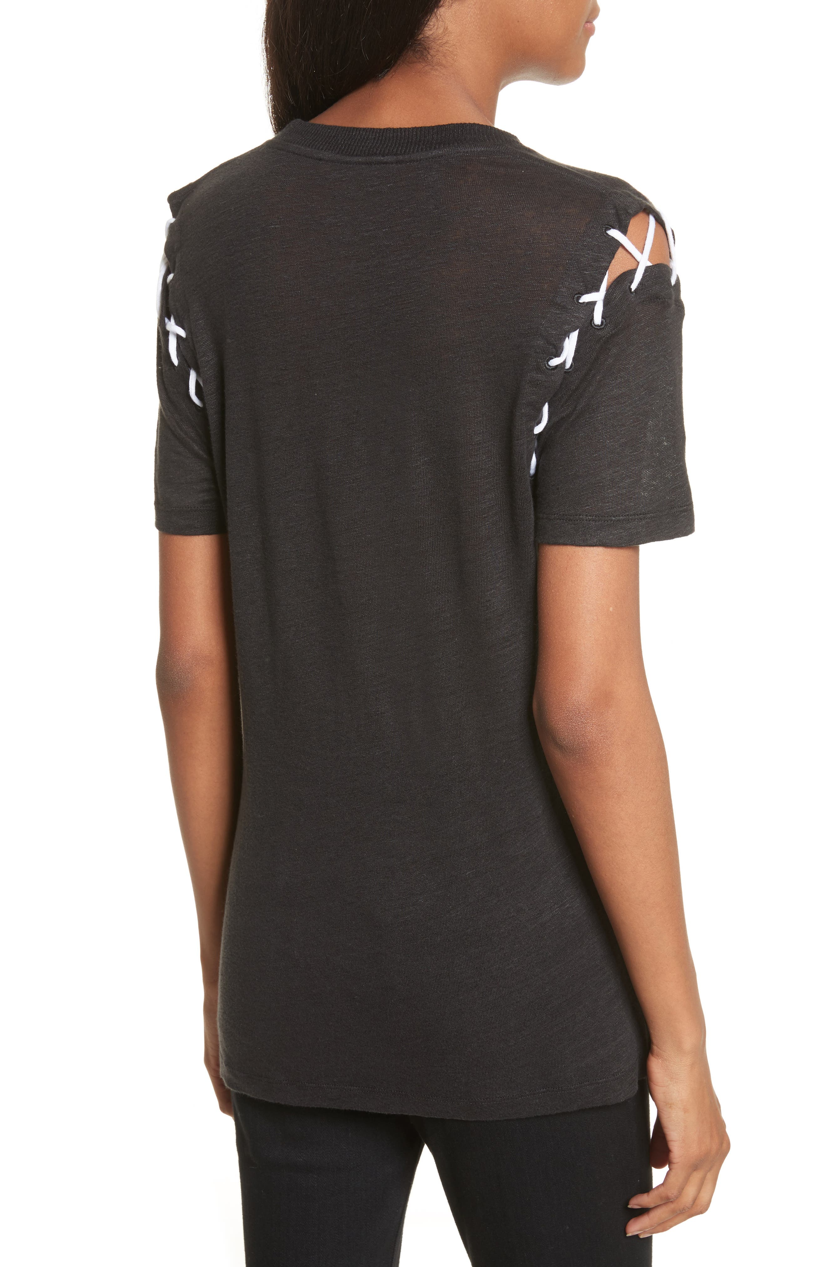 Melly Lace-Up Linen Tee,                             Alternate thumbnail 2, color,                             001