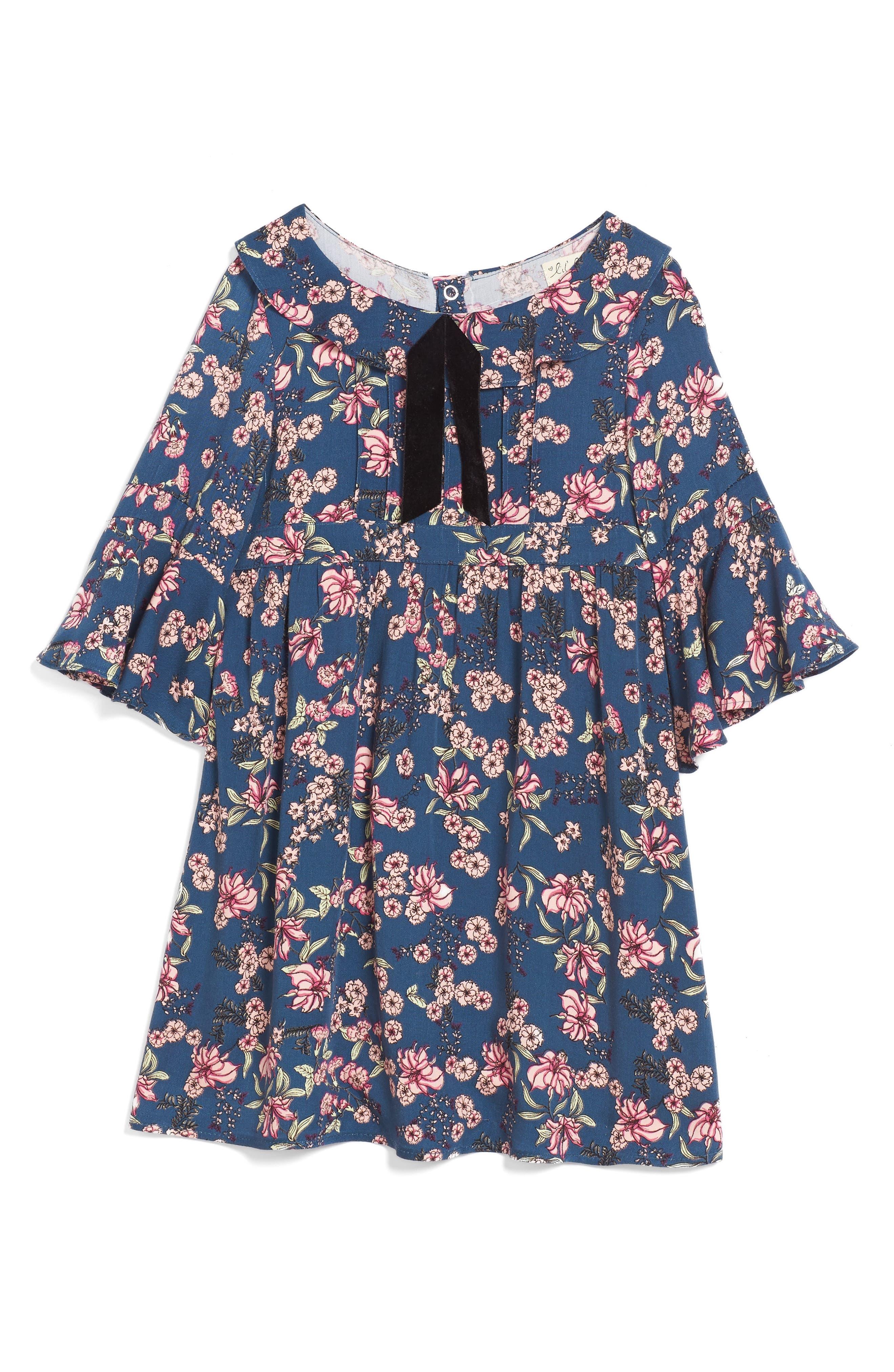For Love & Lemons Juniper Floral Bell Sleeve Dress,                             Main thumbnail 1, color,                             410
