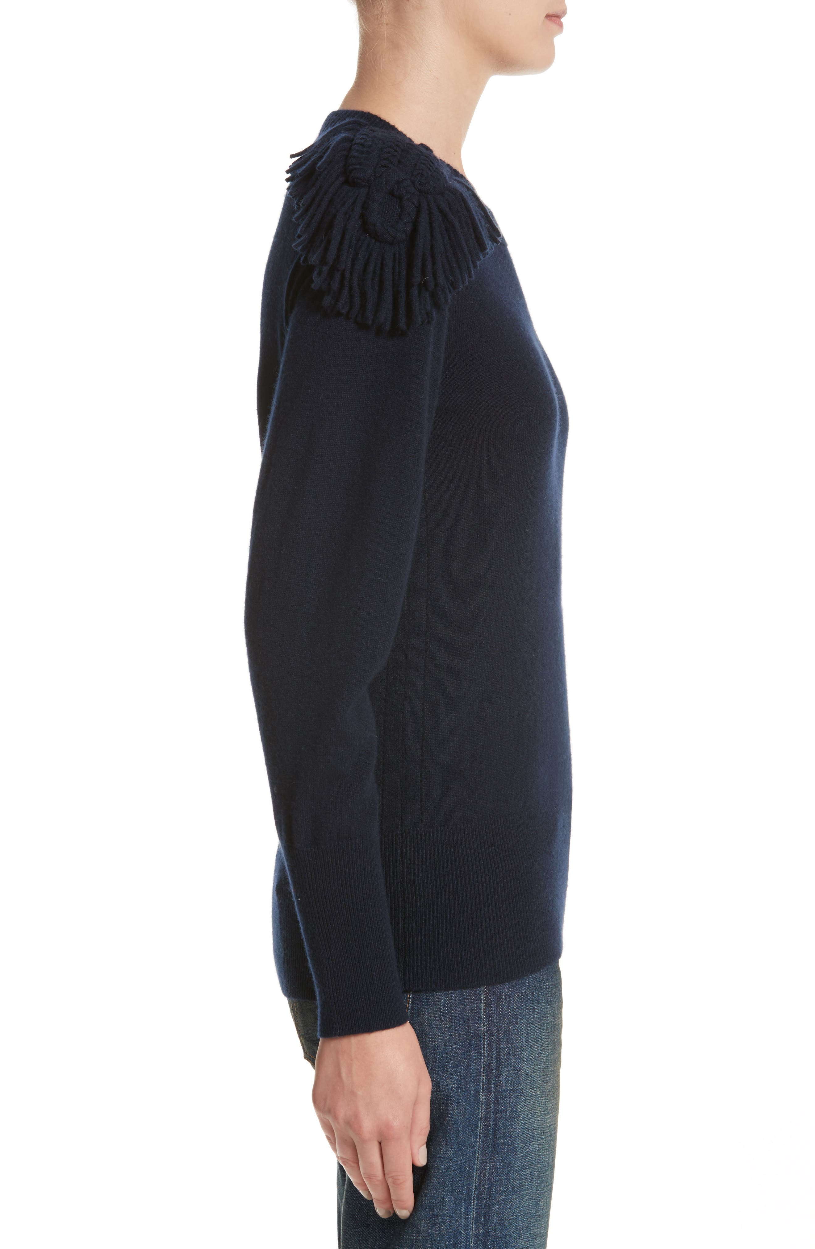 Livenza Wool & Cashmere Fringe Sweater,                             Alternate thumbnail 3, color,                             410
