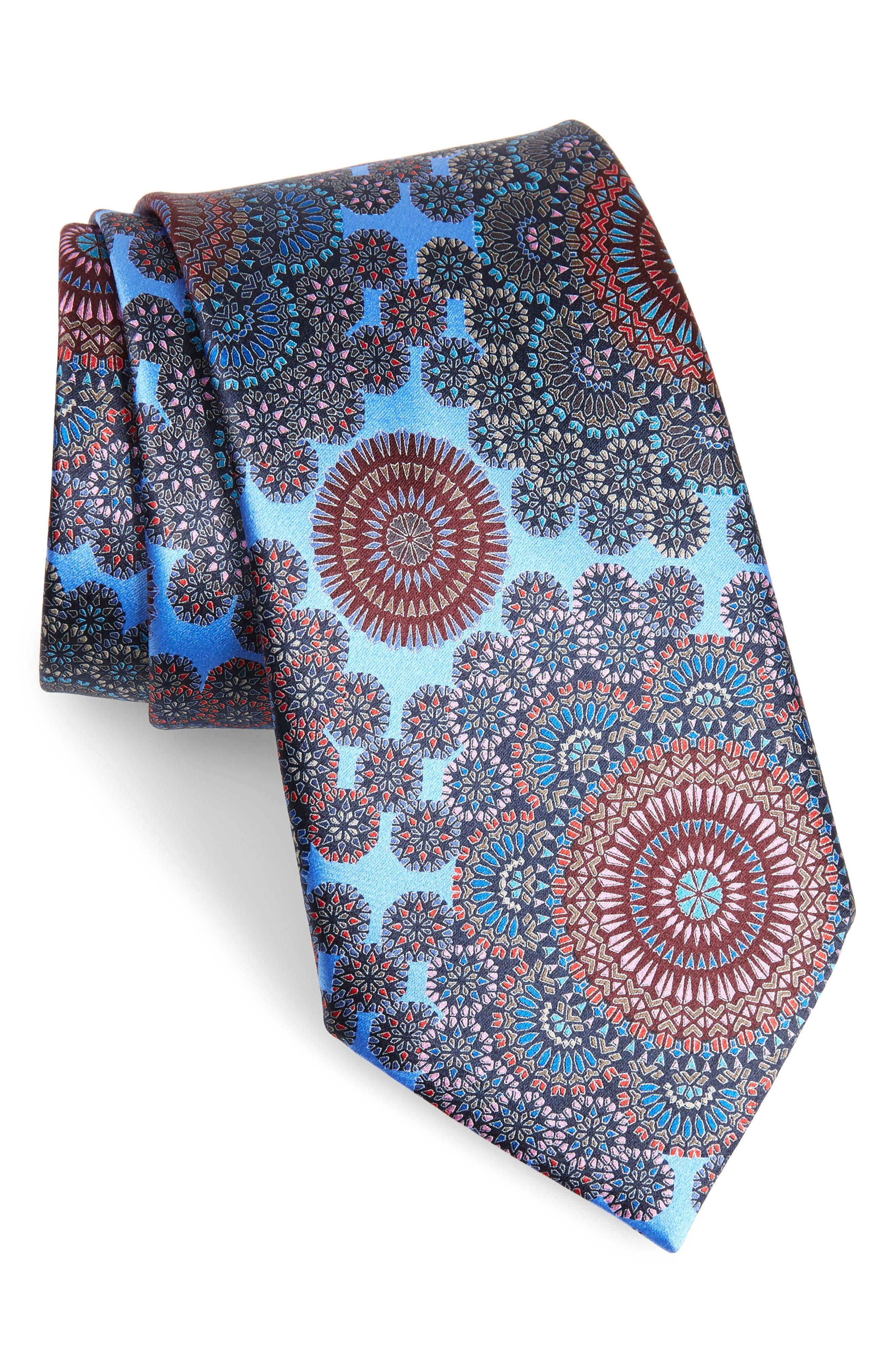 Quindici + Quindici Medallion Silk Tie, Main, color, BLUE