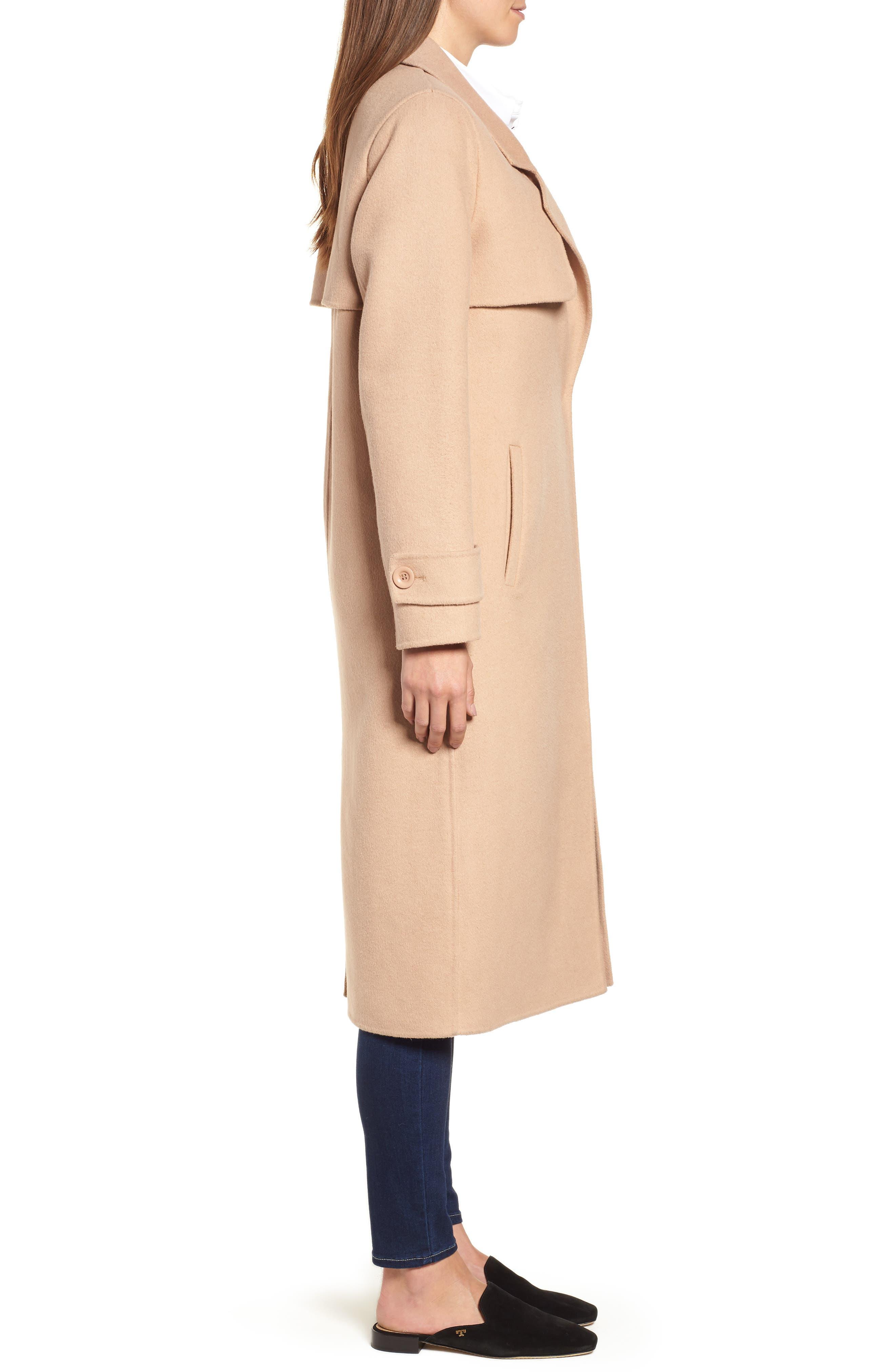 Double Face Wool Blend Long Coat,                             Alternate thumbnail 3, color,                             CAMEL