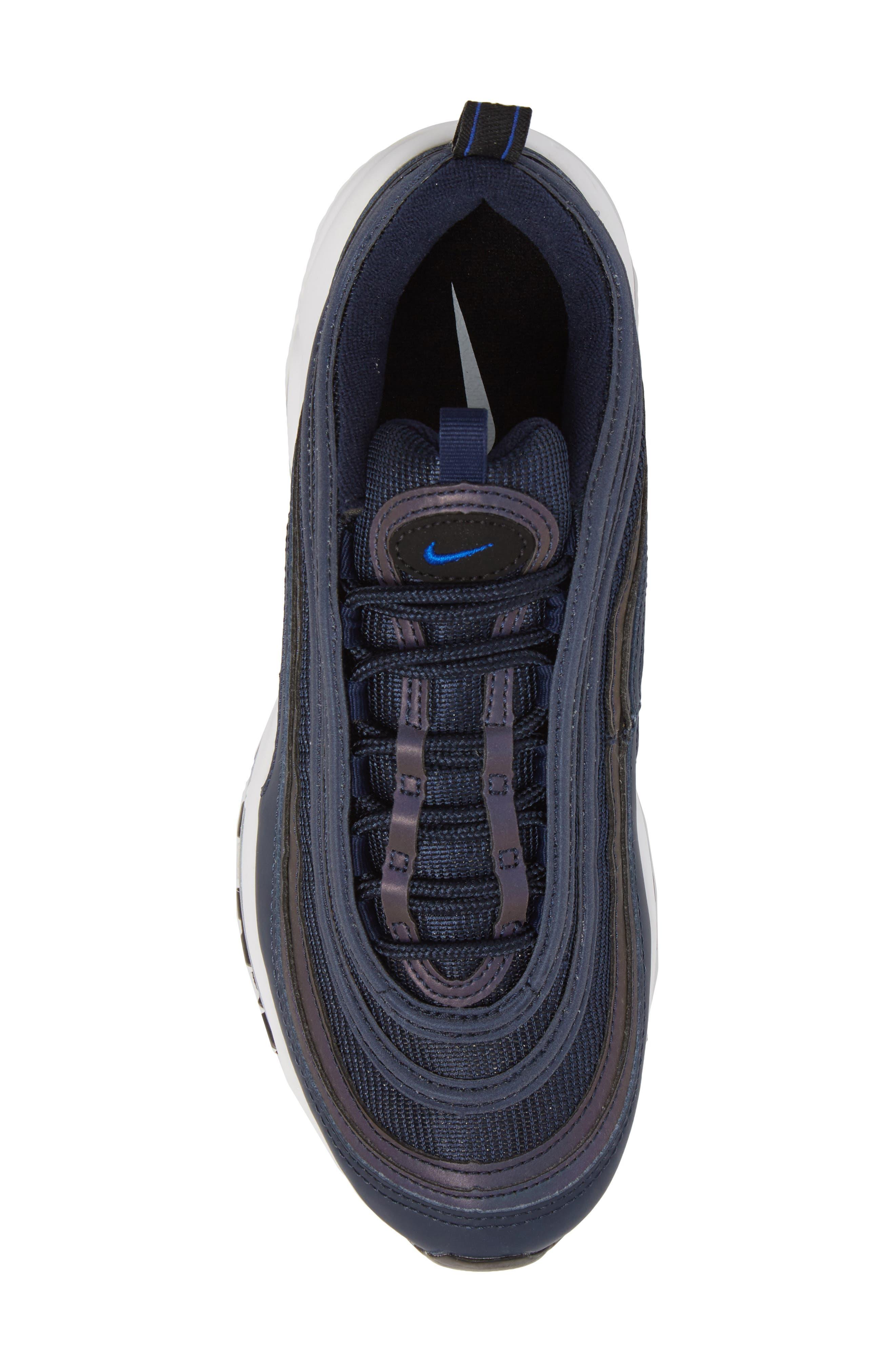 Air Max 97 Sneaker,                             Alternate thumbnail 5, color,                             OBSIDIAN/ WHITE/ BLACK