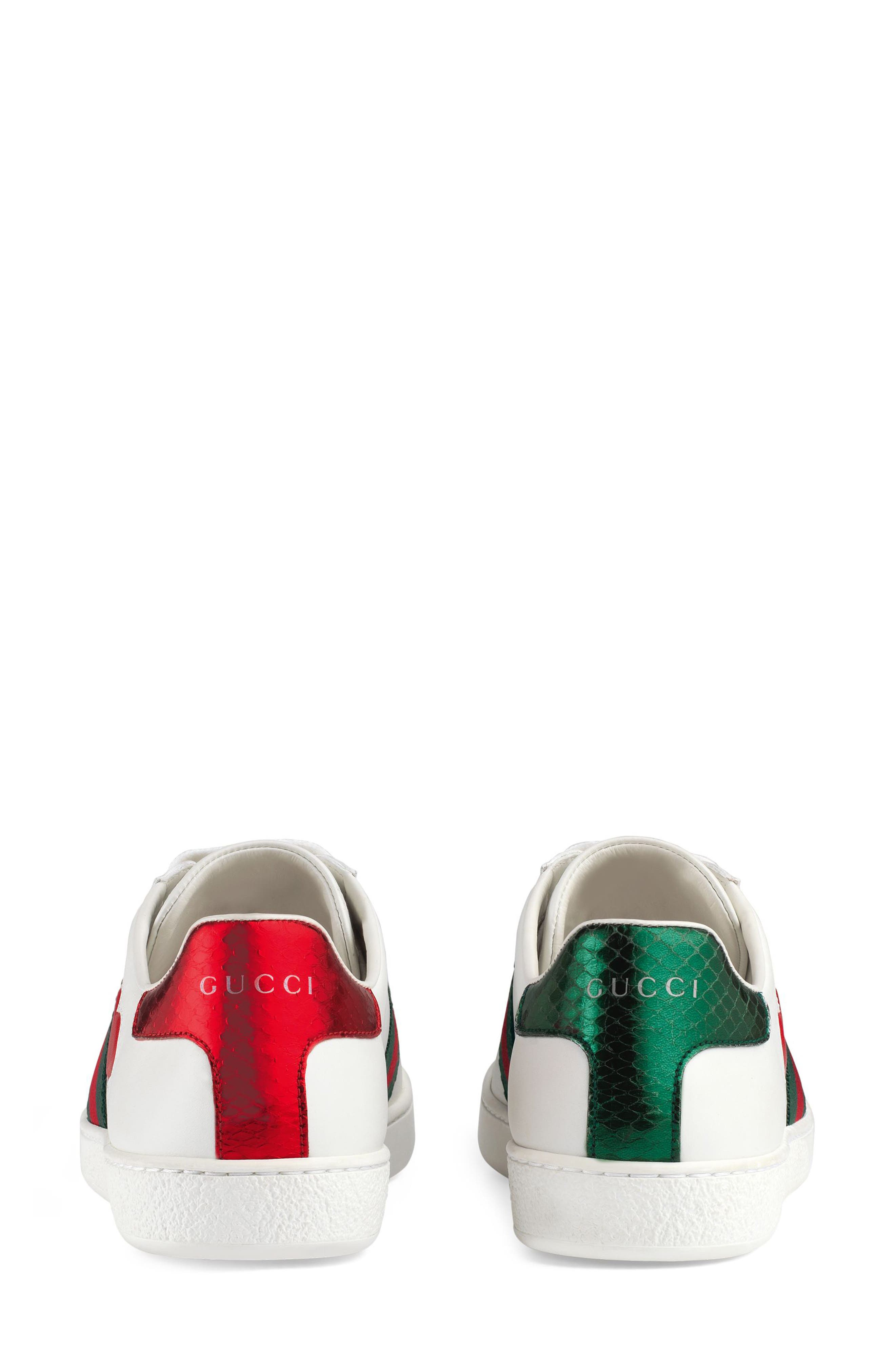 GUCCI,                             New Ace Heart Sneaker,                             Alternate thumbnail 5, color,                             WHITE