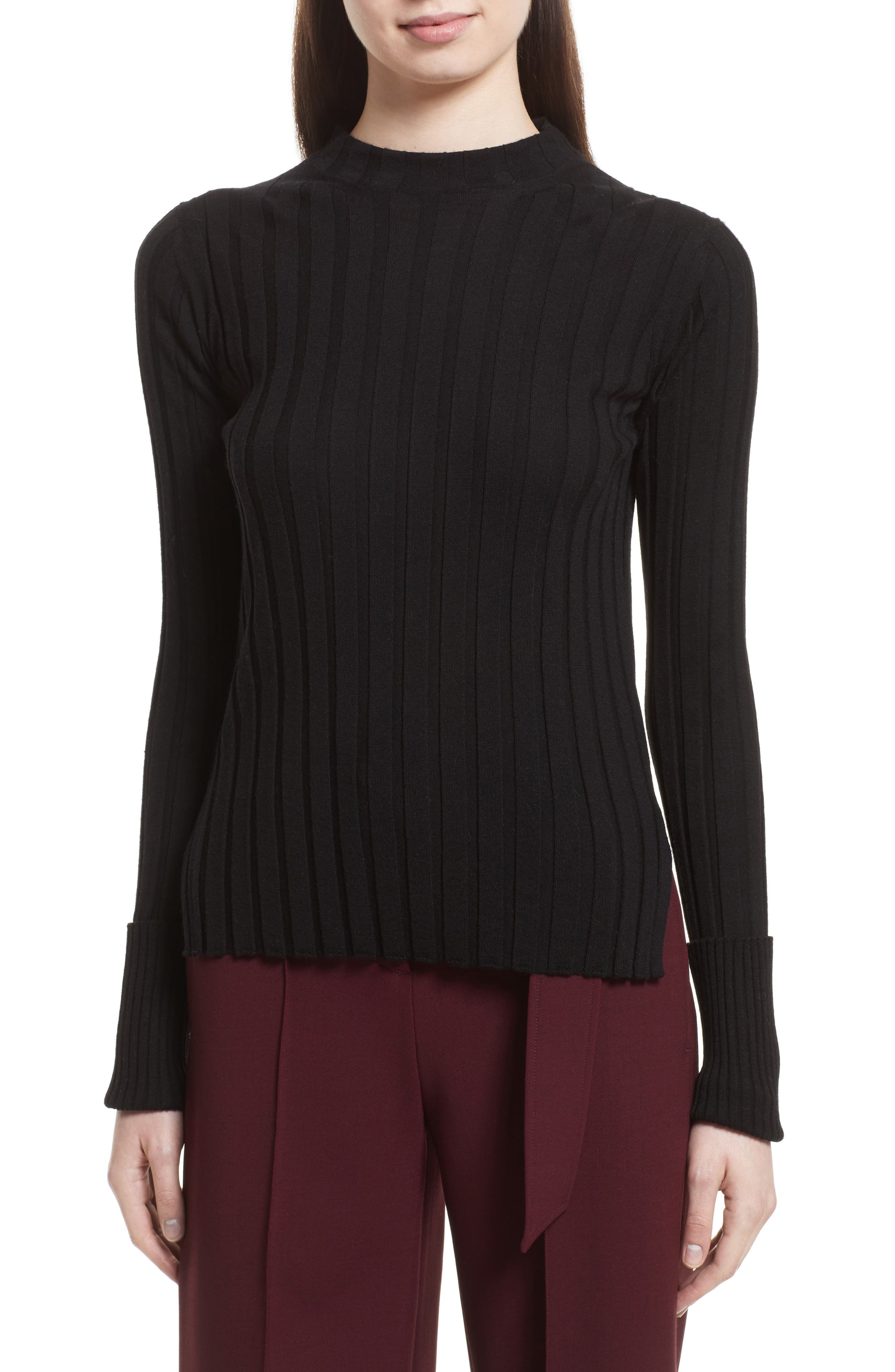 Wide Ribbed Mock Neck Wool Sweater,                             Main thumbnail 1, color,                             001
