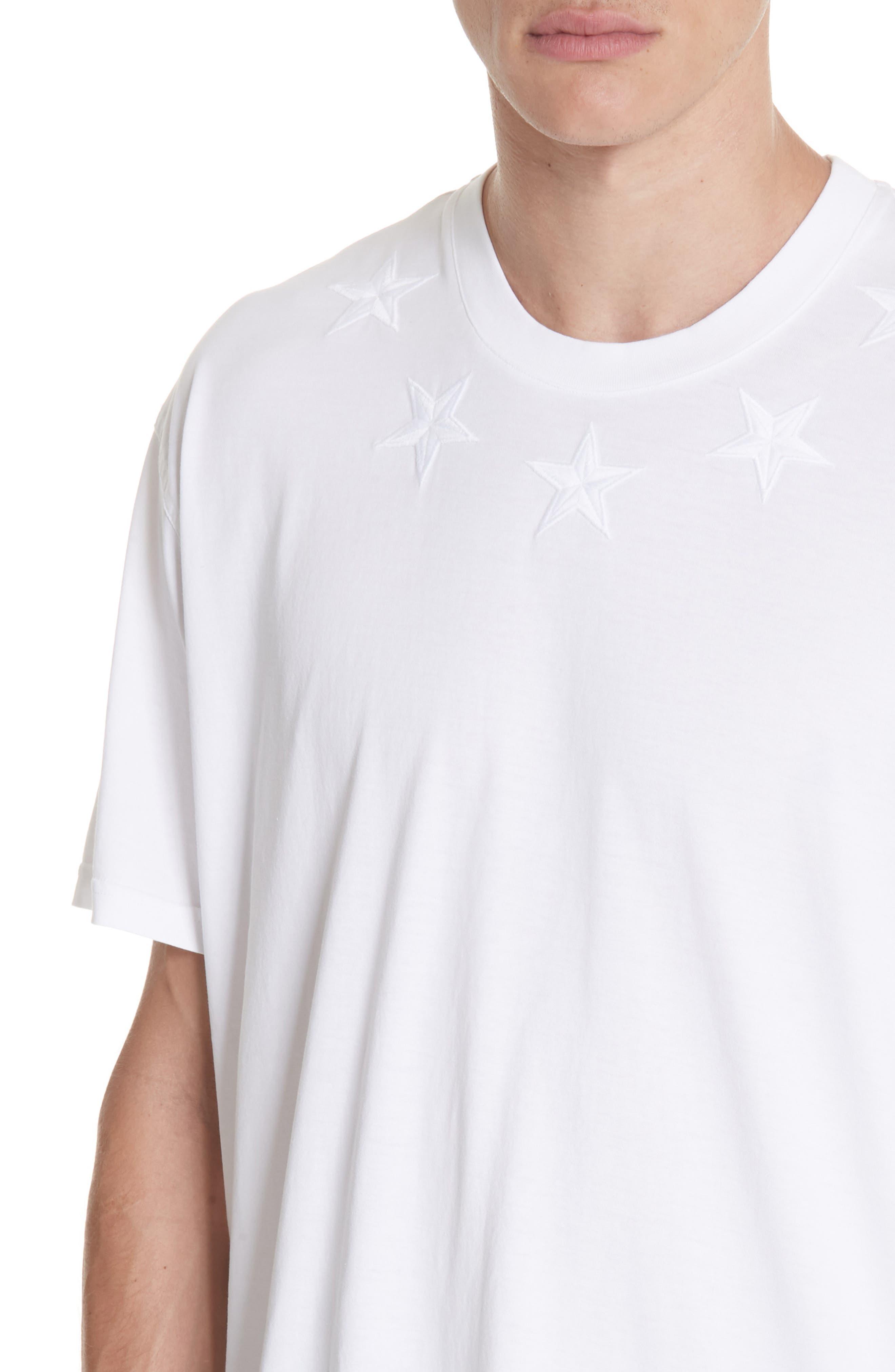GIVENCHY,                             Star Appliqué T-Shirt,                             Alternate thumbnail 4, color,                             WHITE