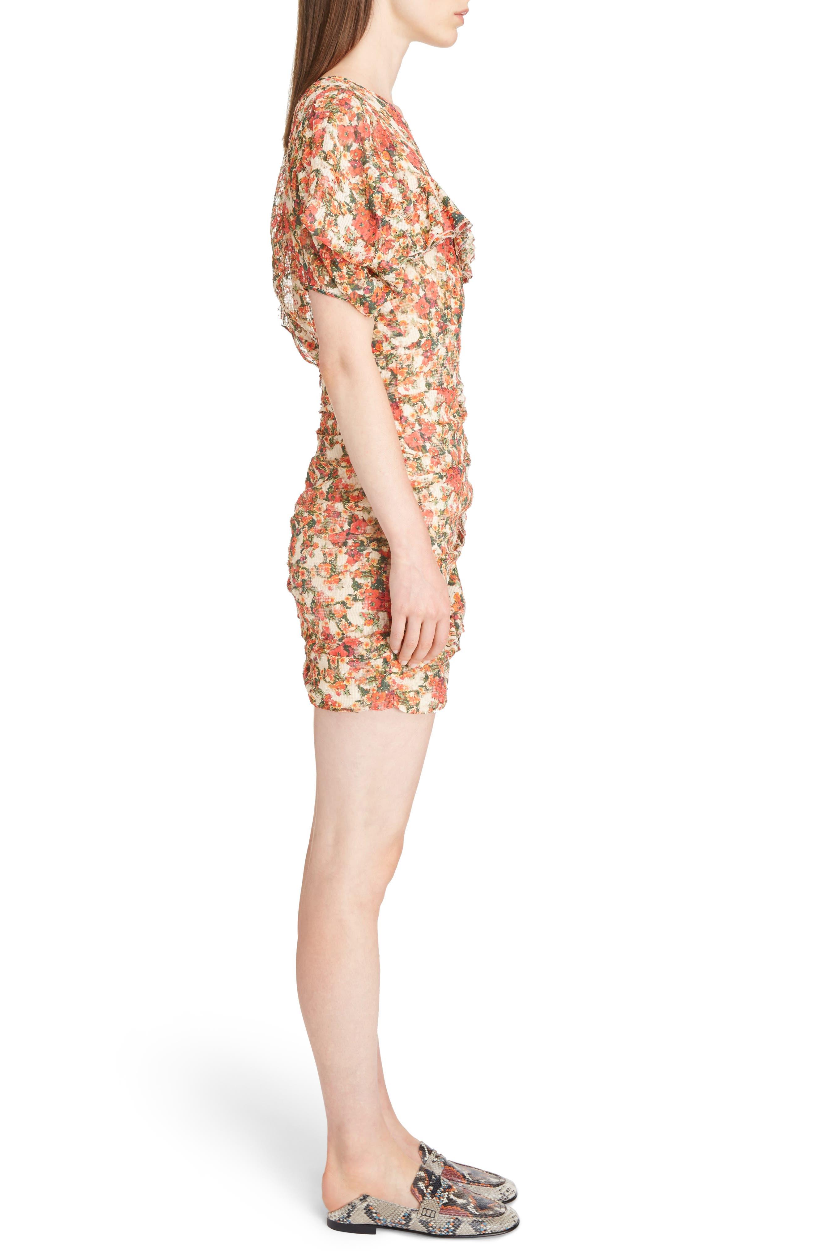 Floral Print Ruffle Dress,                             Alternate thumbnail 3, color,                             600