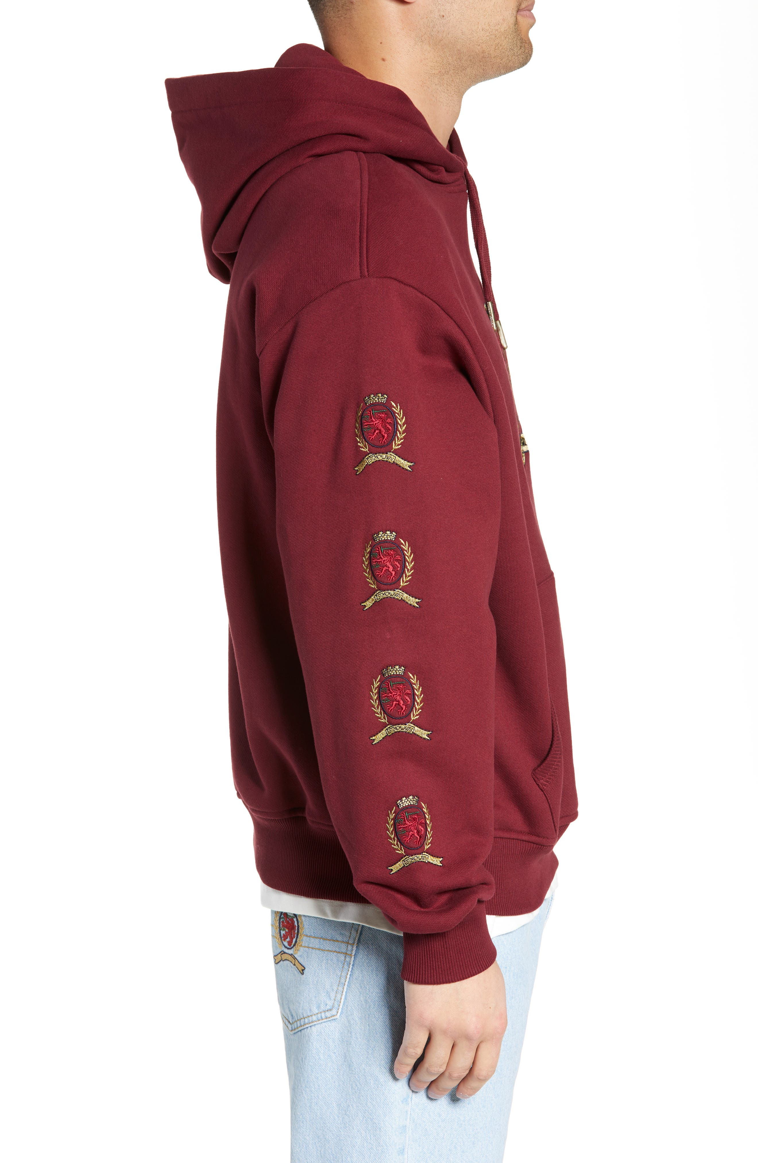 Embroidered Crest Logo Hoodie,                             Alternate thumbnail 3, color,                             CABERNET