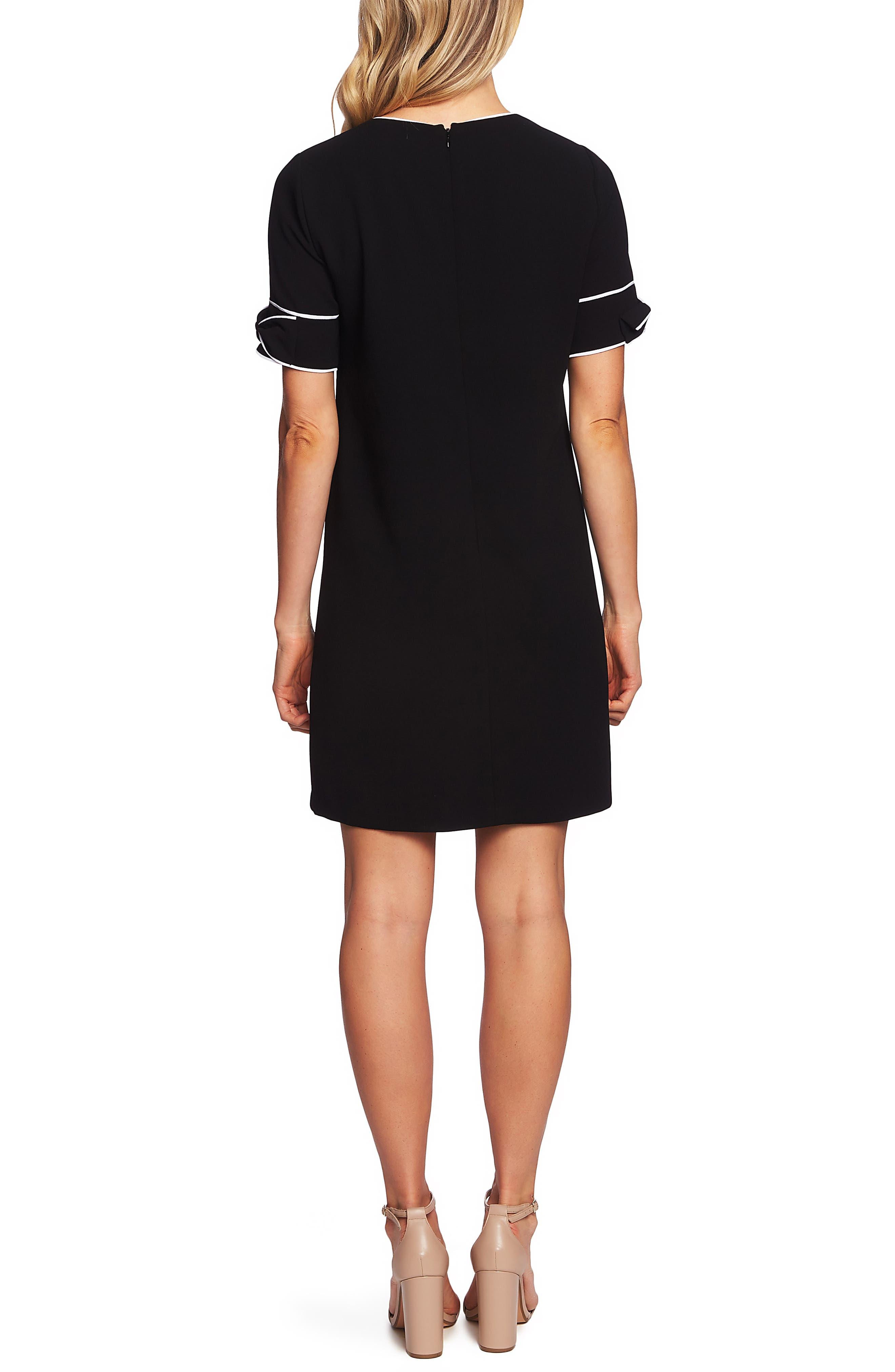 CECE,                             Bow Trim Shift Dress,                             Alternate thumbnail 2, color,                             RICH BLACK