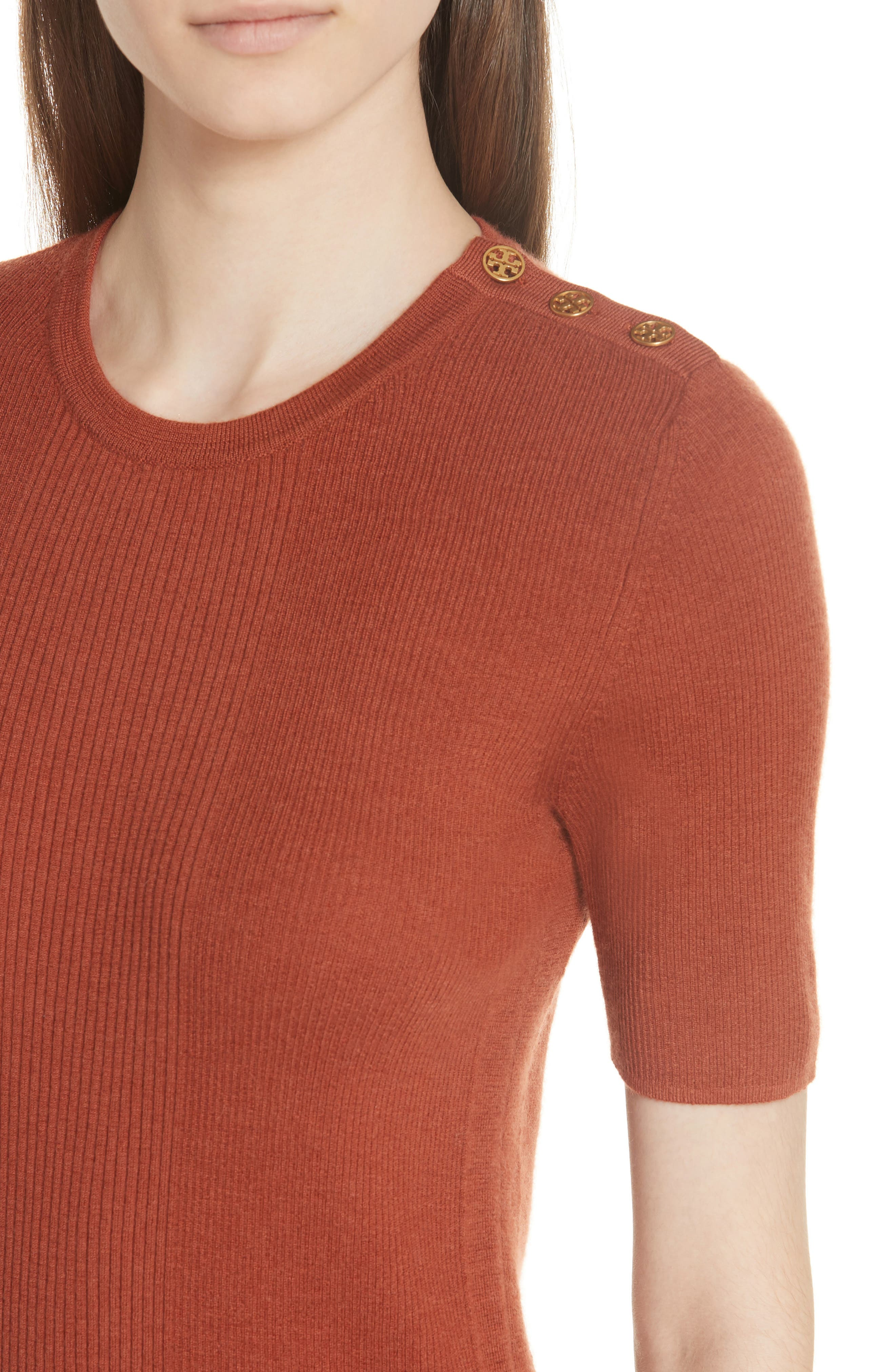 Taylor Ribbed Cashmere Sweater,                             Alternate thumbnail 4, color,                             DESERT SPICE