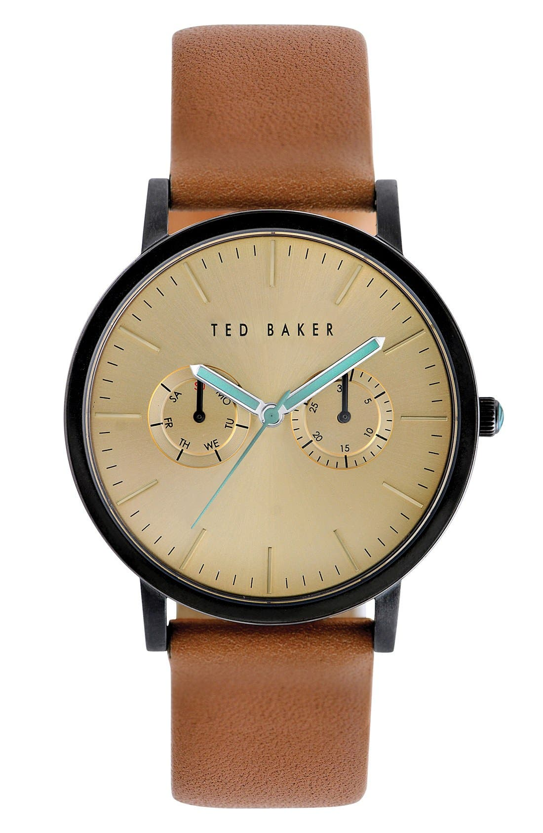 Multifunction Leather Strap Watch, 40mm,                         Main,                         color, 200