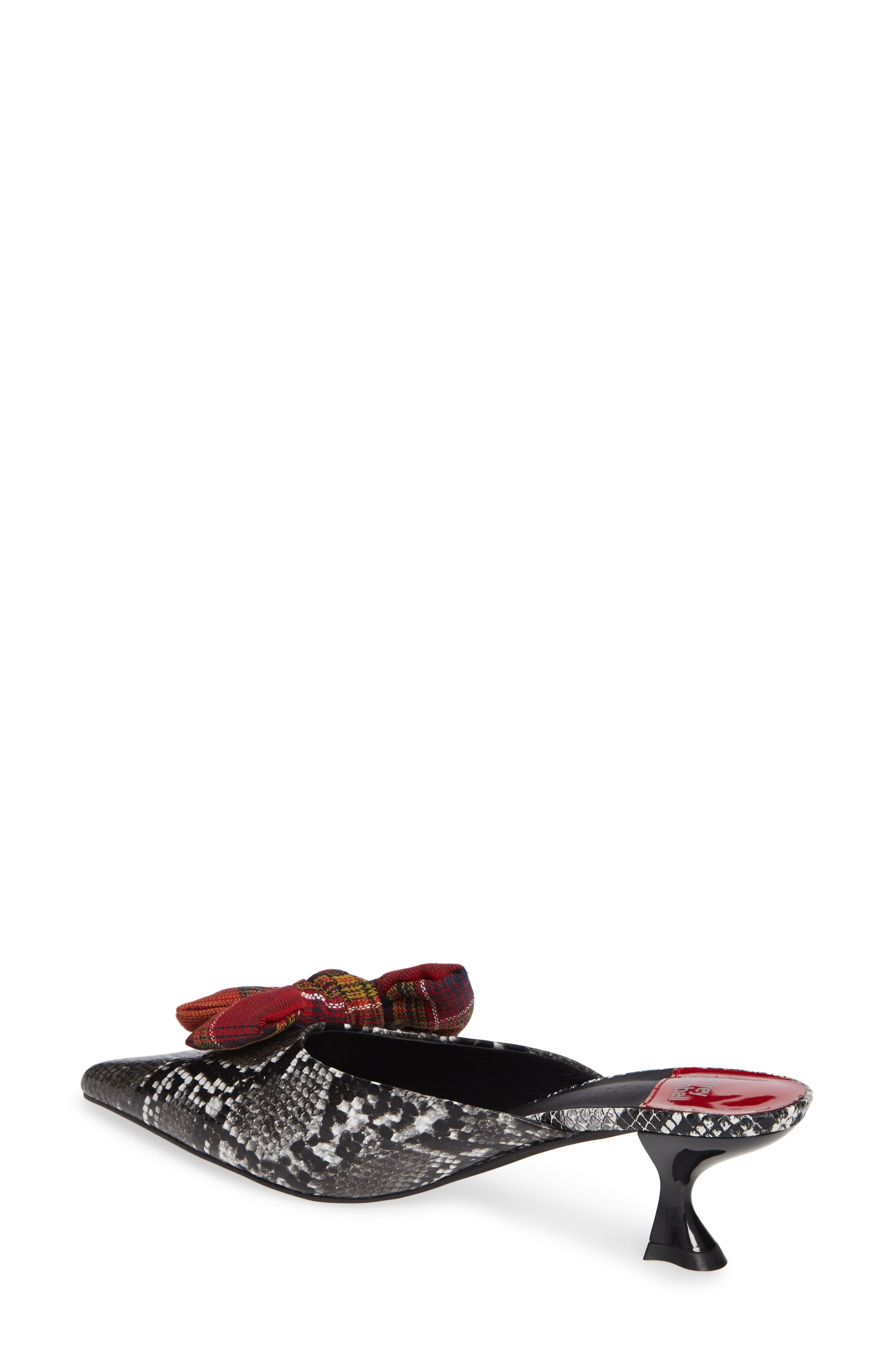 Adorn Pointy Toe Mule,                             Alternate thumbnail 2, color,                             GREY BLACK SNAKE / RED PLAID