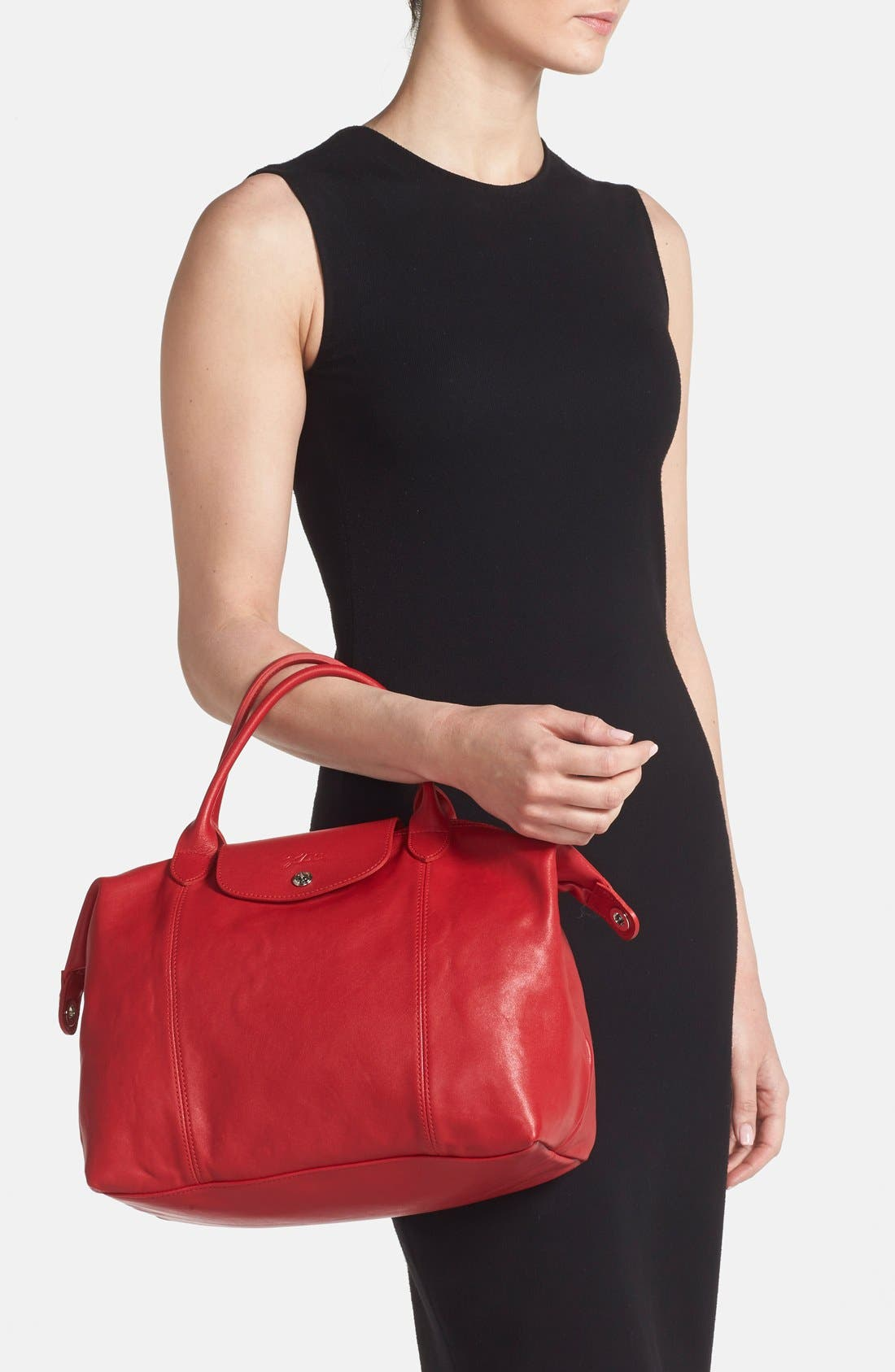 Medium 'Le Pliage Cuir' Leather Top Handle Tote,                             Alternate thumbnail 83, color,
