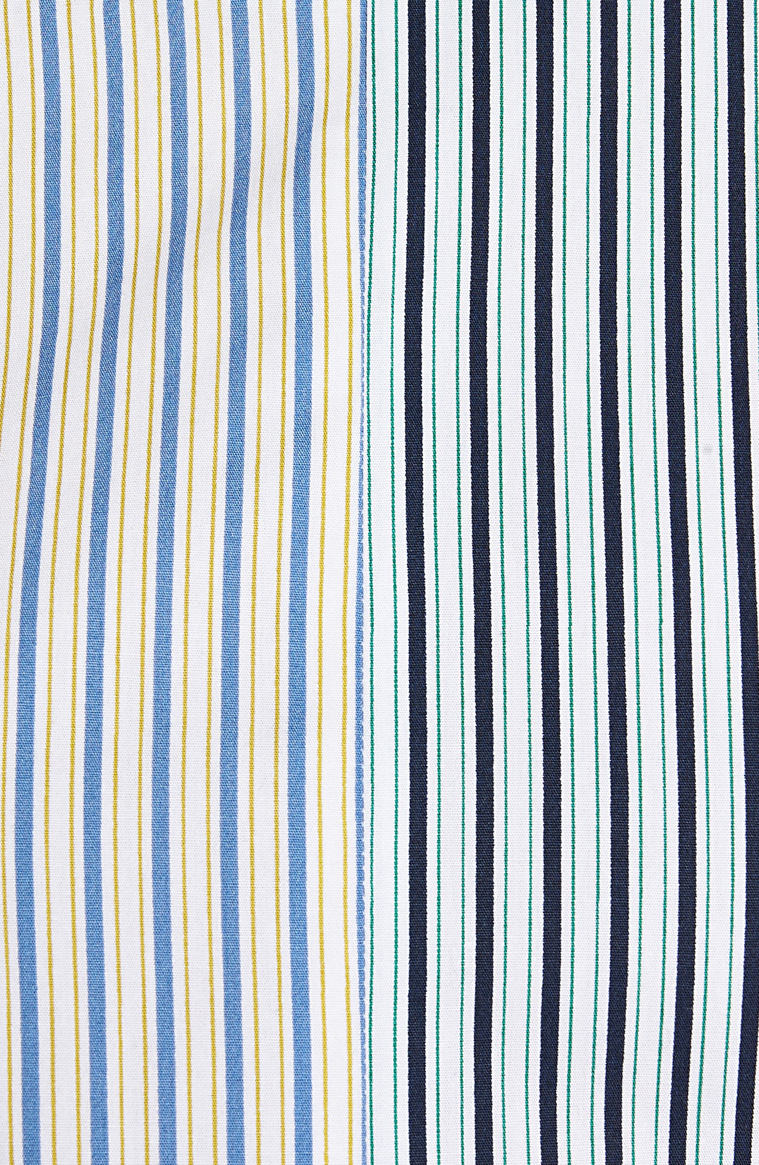 HALOGEN<SUP>®</SUP>,                             Mixed Stripe Cotton Shirt,                             Alternate thumbnail 5, color,                             100