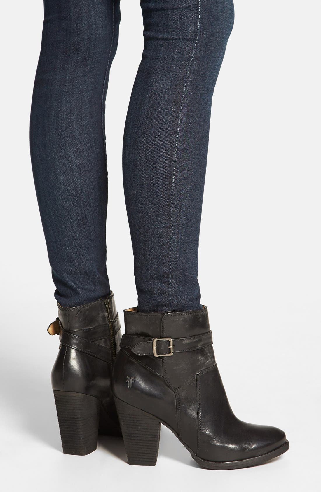 'Patty' Leather Riding Bootie,                             Alternate thumbnail 3, color,                             001