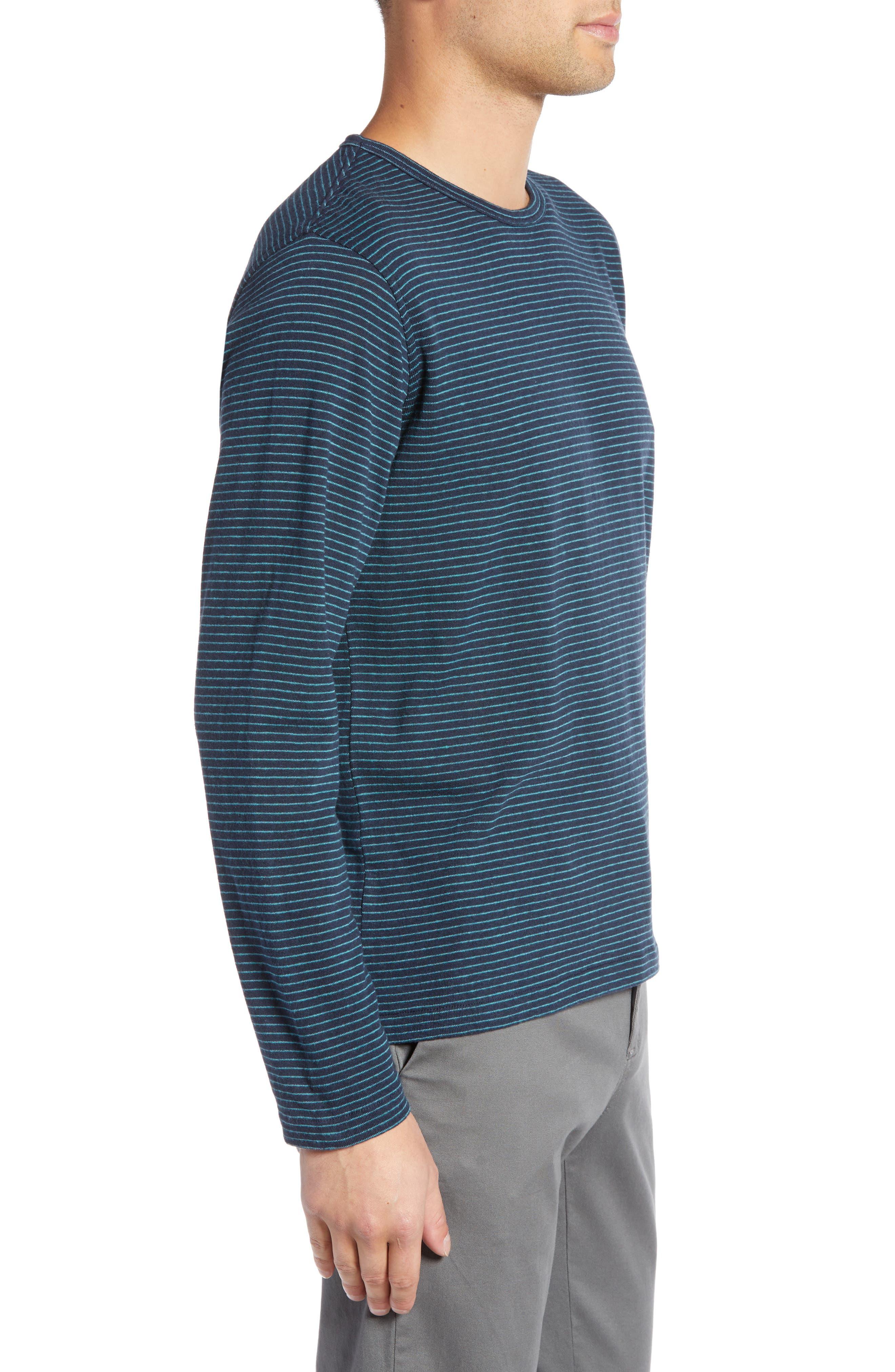 Narrow Stripe Long Sleeve T-Shirt,                             Alternate thumbnail 3, color,                             NAVY/ BLUE