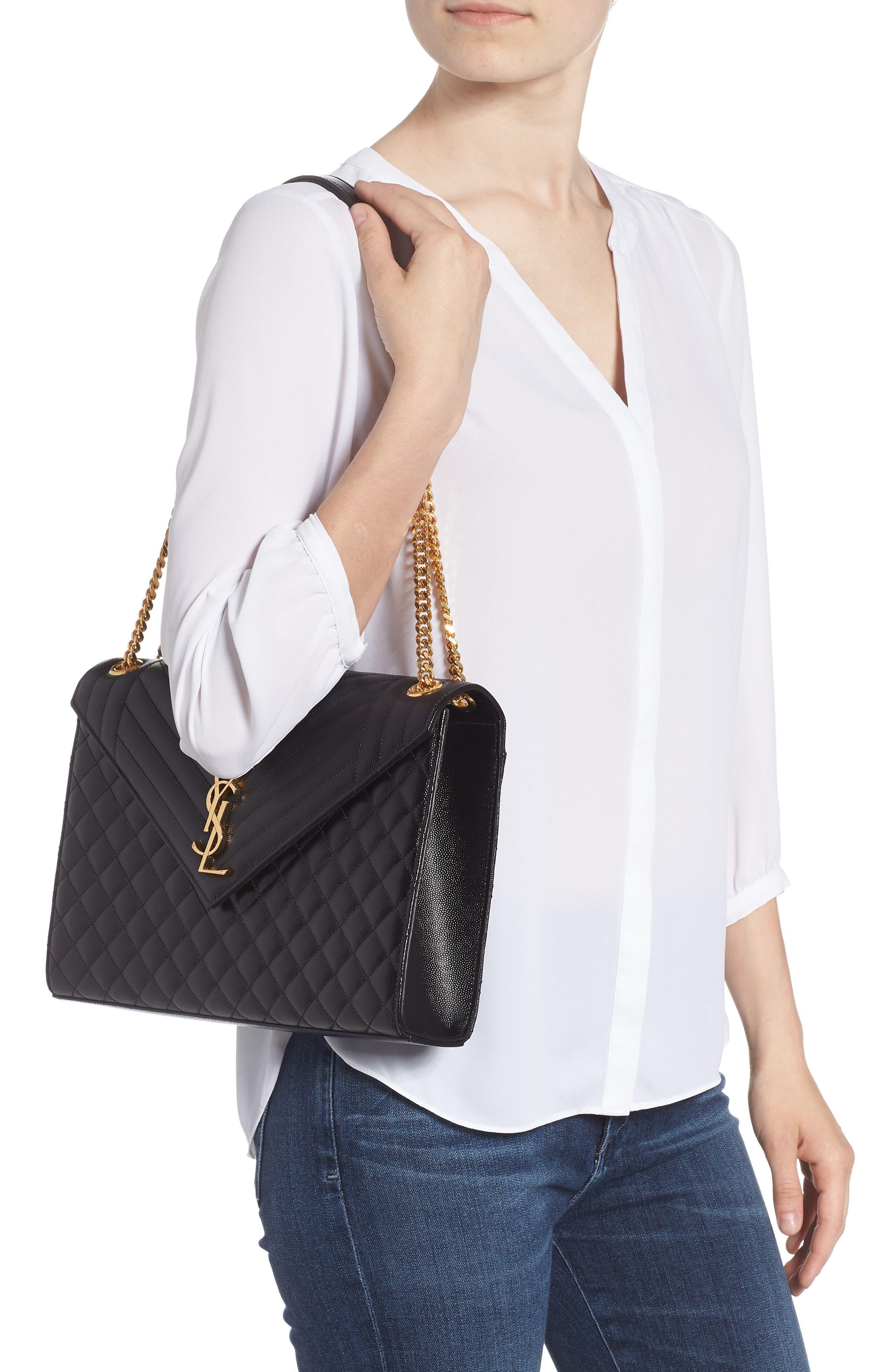 Large Cassandra Calfskin Shoulder Bag,                             Alternate thumbnail 2, color,                             NERO/ NERO/ NERO