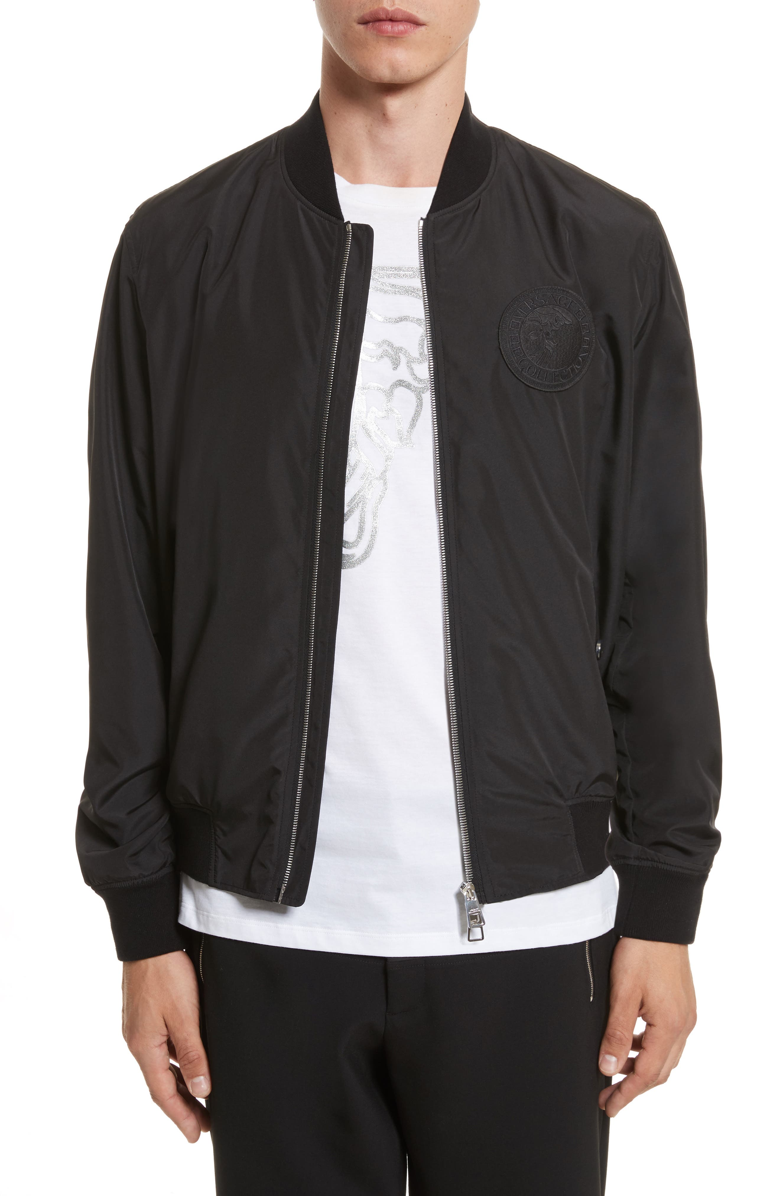 Bomber Jacket with Patch,                         Main,                         color, BLACK