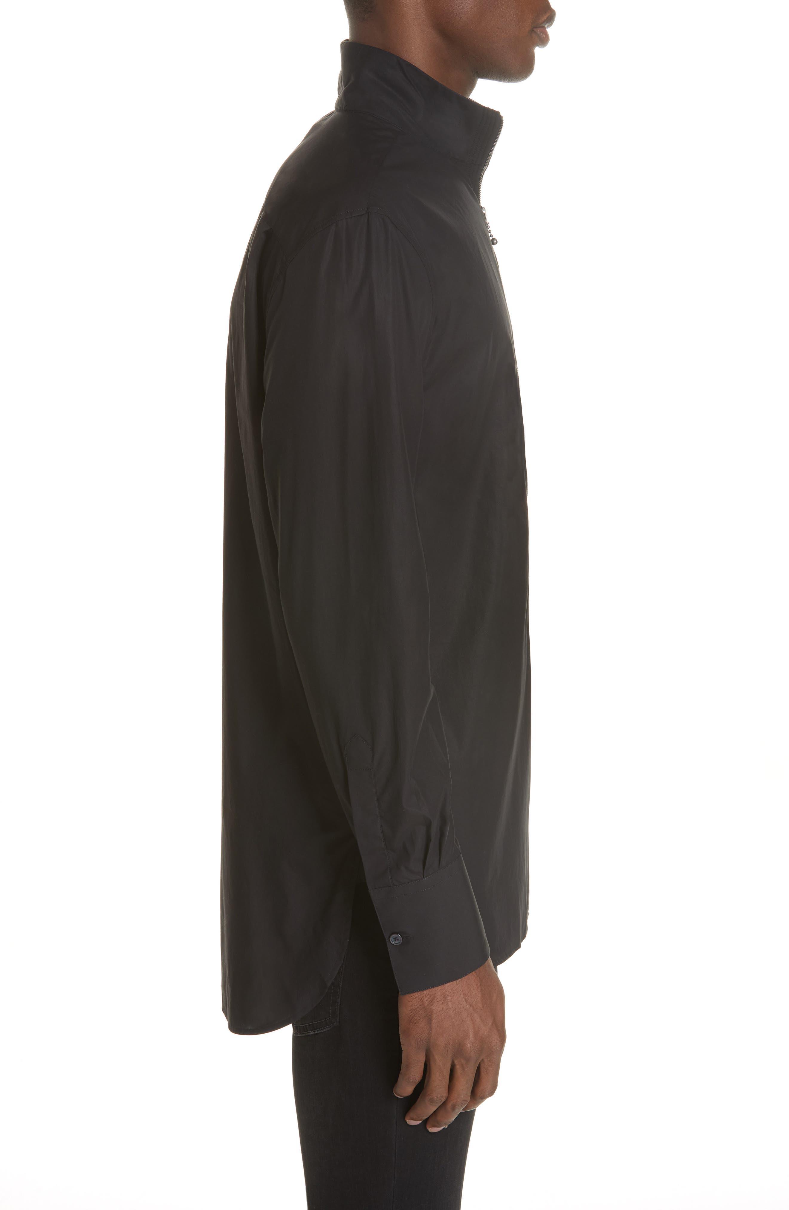 Zip Front Cotton Shirt,                             Alternate thumbnail 4, color,                             BLACK