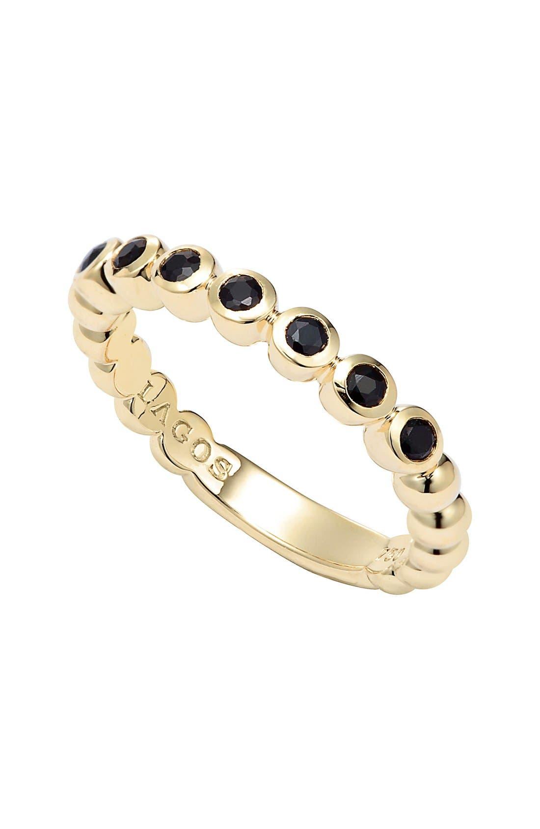 Covet Stone Caviar Stack Ring,                             Main thumbnail 1, color,                             GOLD/ BLACK SAPPHIRE