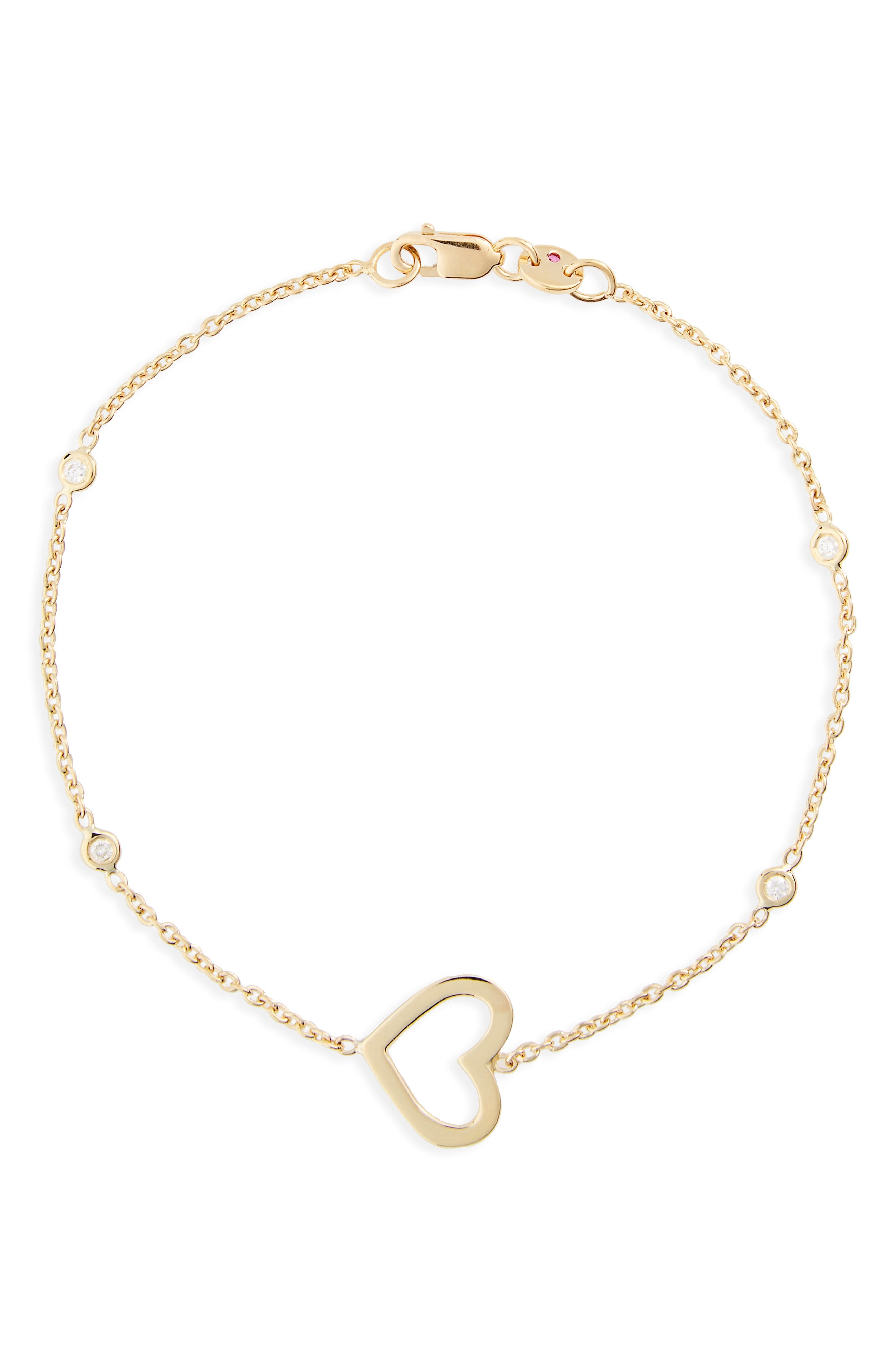 Side Heart Diamond Station Bracelet,                             Main thumbnail 1, color,                             YELLOW GOLD