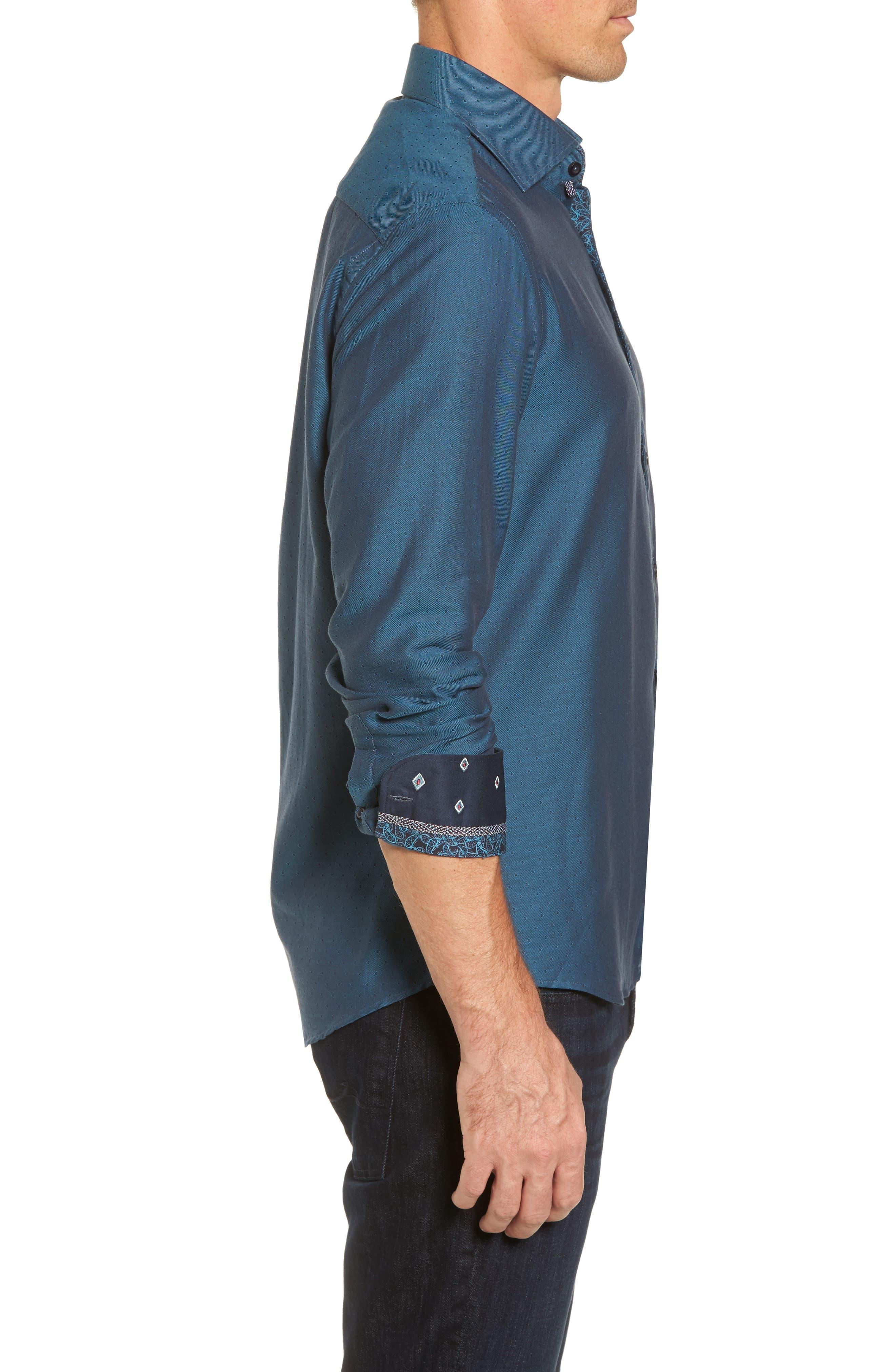 Slim Fit Diamond Twill Sport Shirt,                             Alternate thumbnail 3, color,                             TEAL