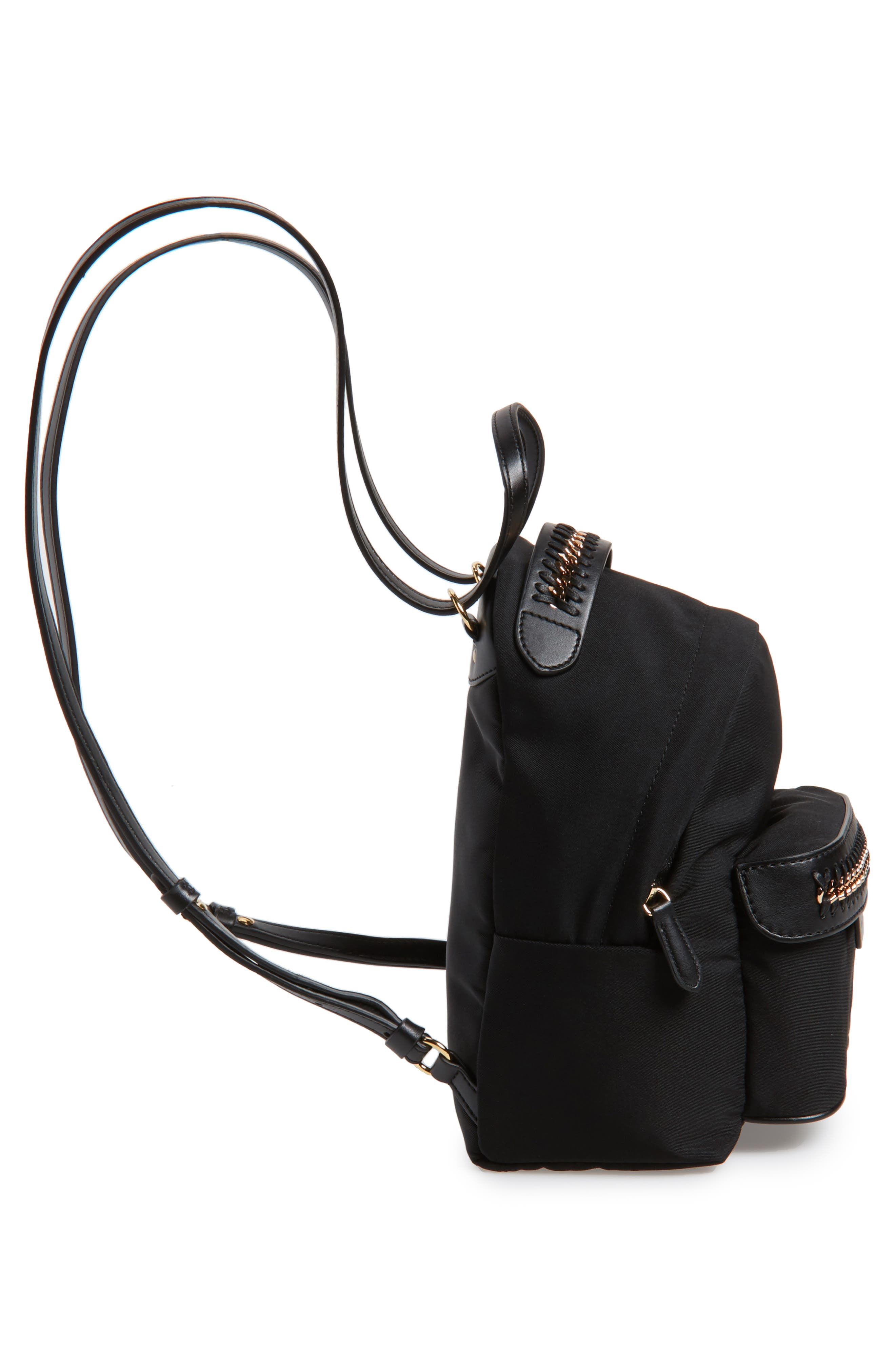 Mini Falabella Nylon Backpack,                             Alternate thumbnail 5, color,                             001