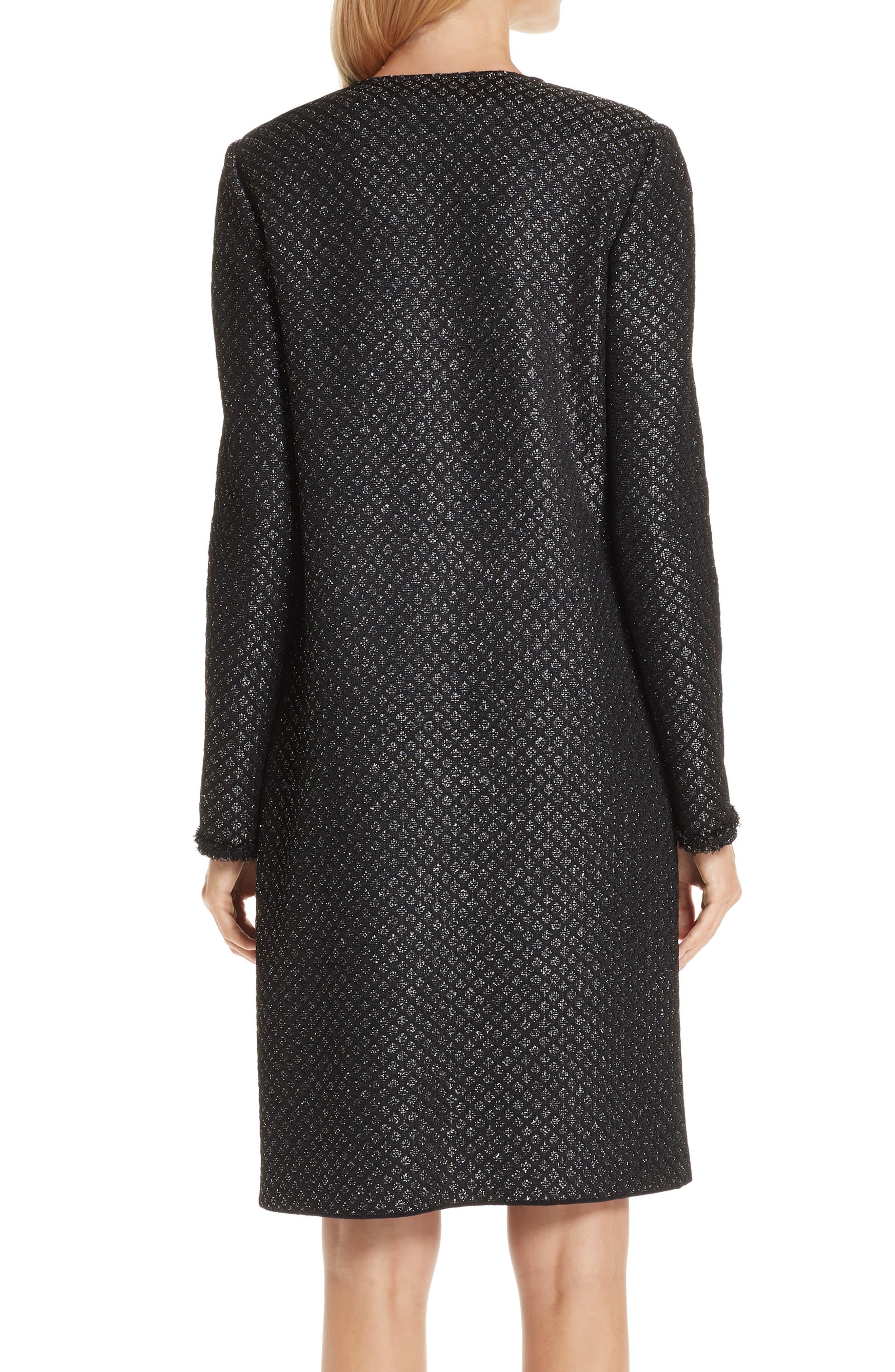 Shimmer Inlay Brocade Knit Jacket,                             Alternate thumbnail 2, color,                             CAVIAR/ SILVER