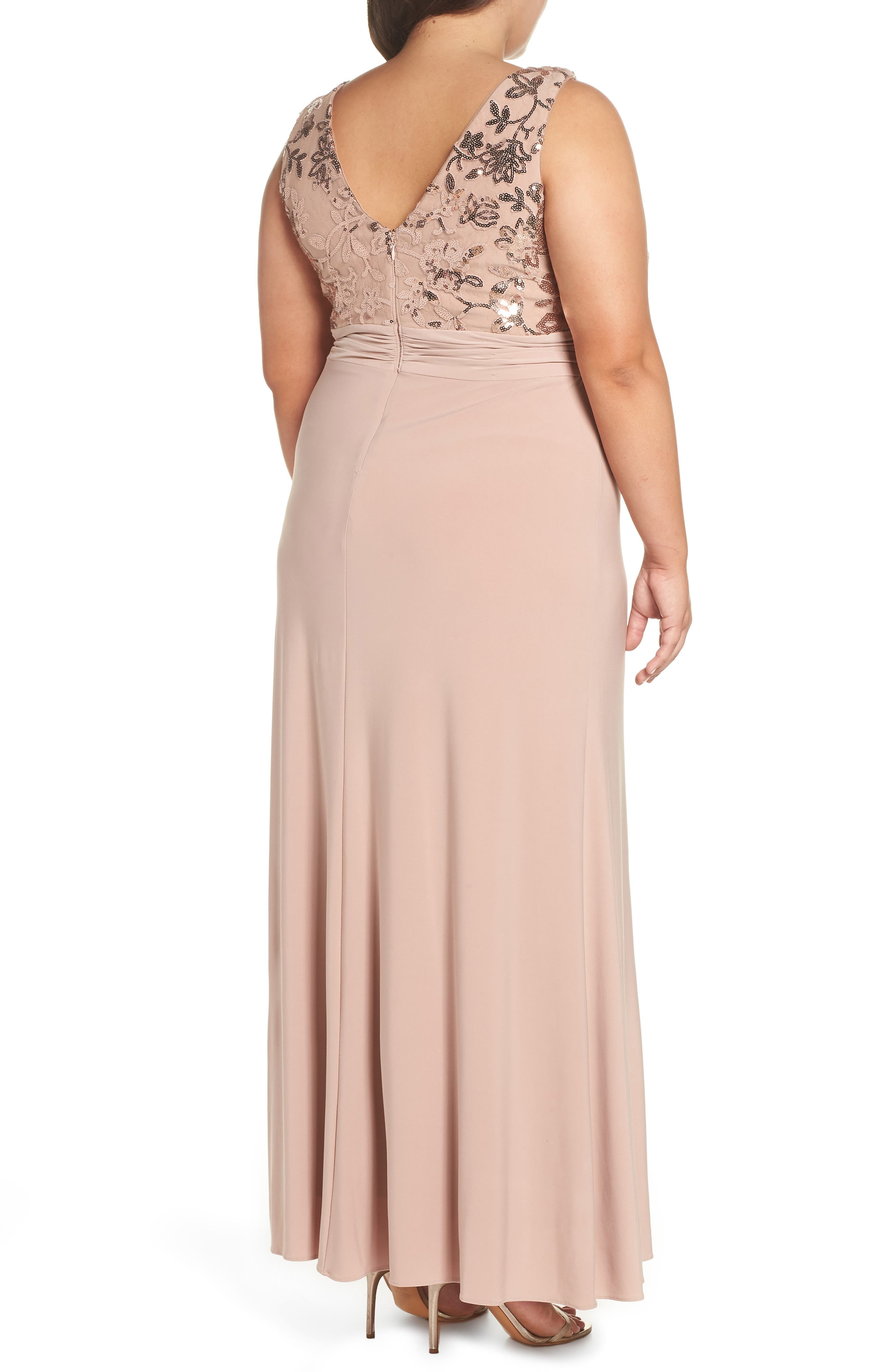 Sequin Lace Bodice Ruffle Skirt Knit Gown,                             Alternate thumbnail 2, color,                             ROSE GOLD
