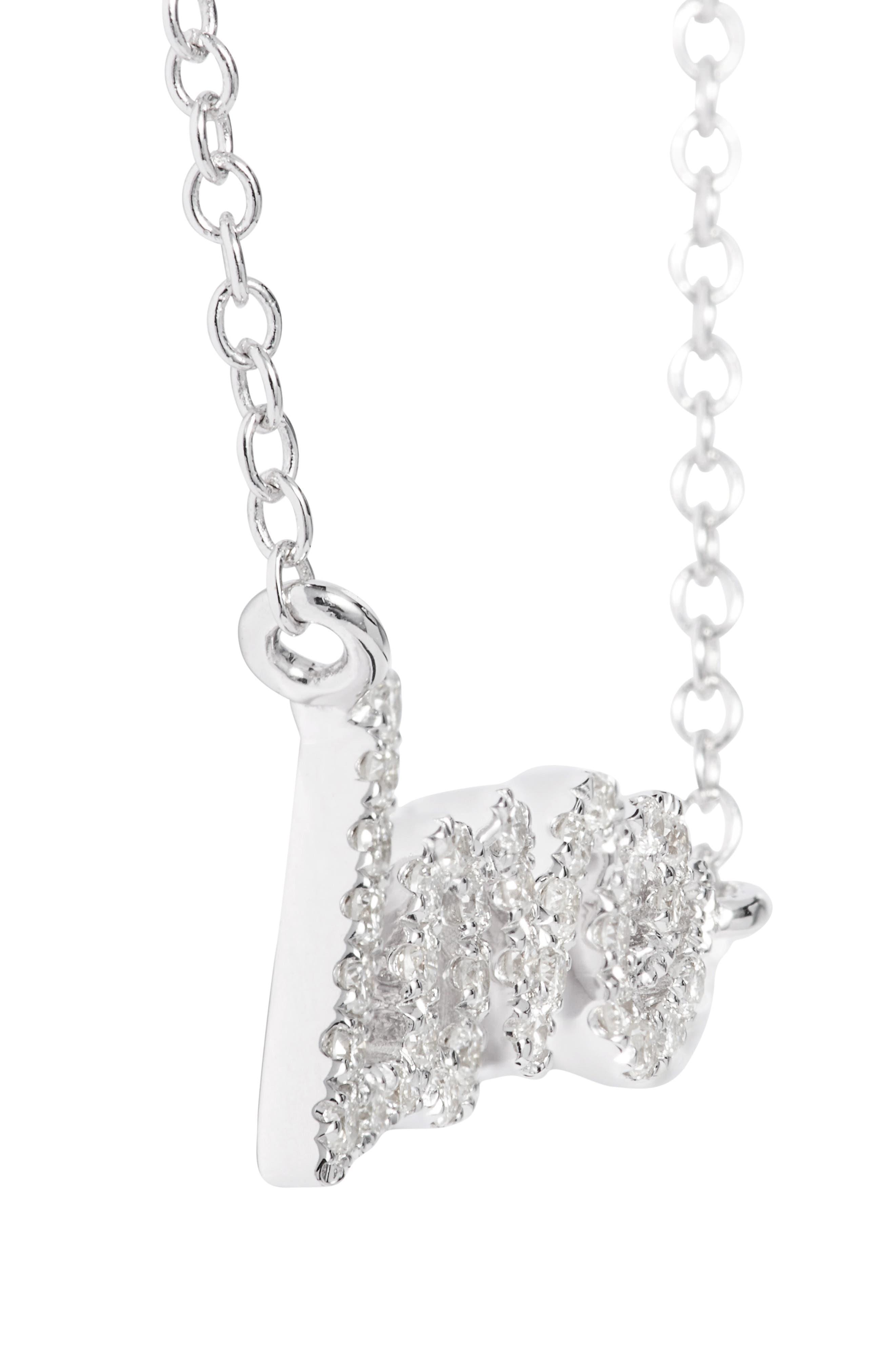 MeiraT Dazzling Diamond Love Pendant Necklace,                             Alternate thumbnail 4, color,                             WHITE GOLD