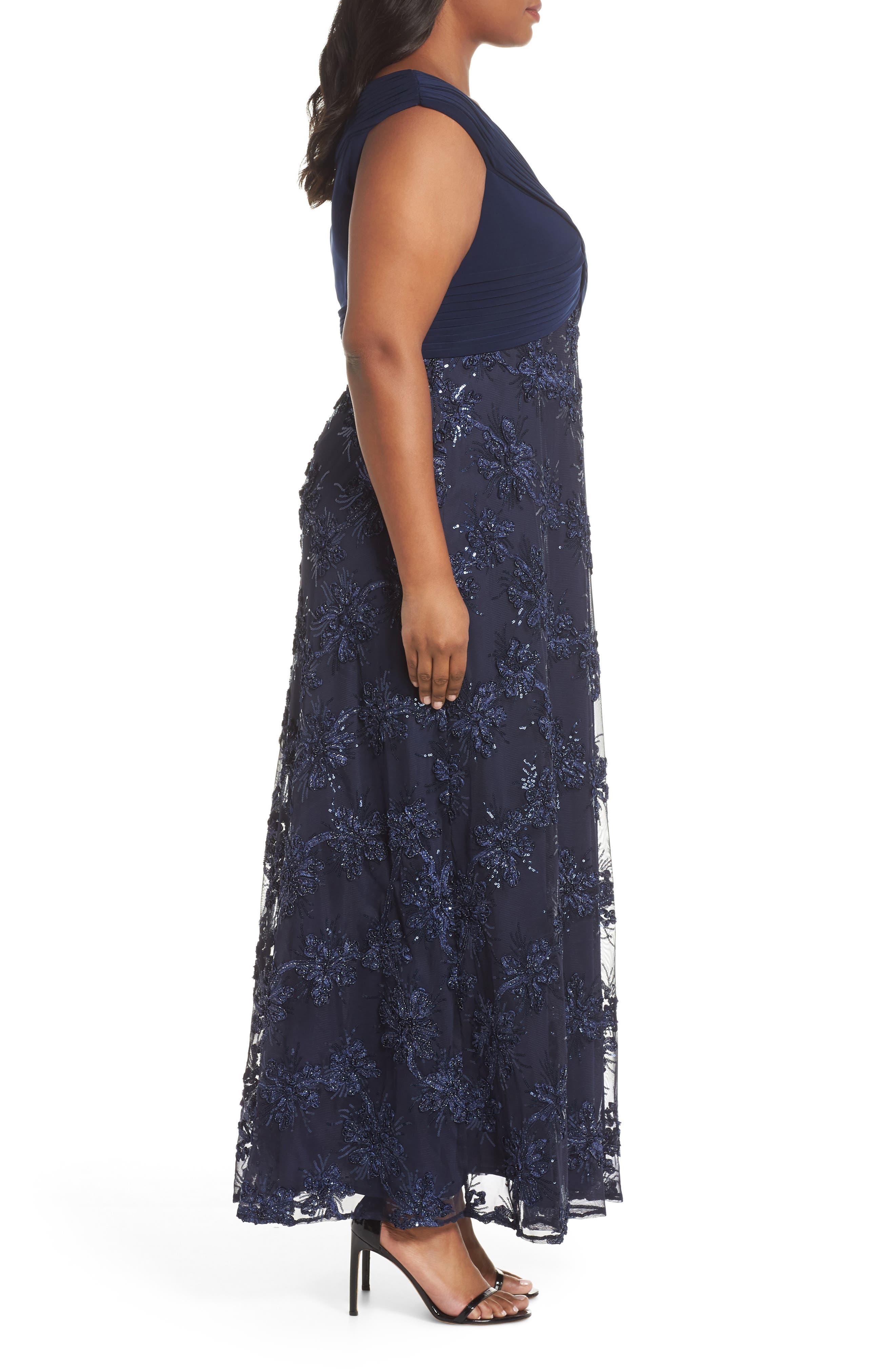Embellished A-Line Gown,                             Alternate thumbnail 3, color,                             NAVY